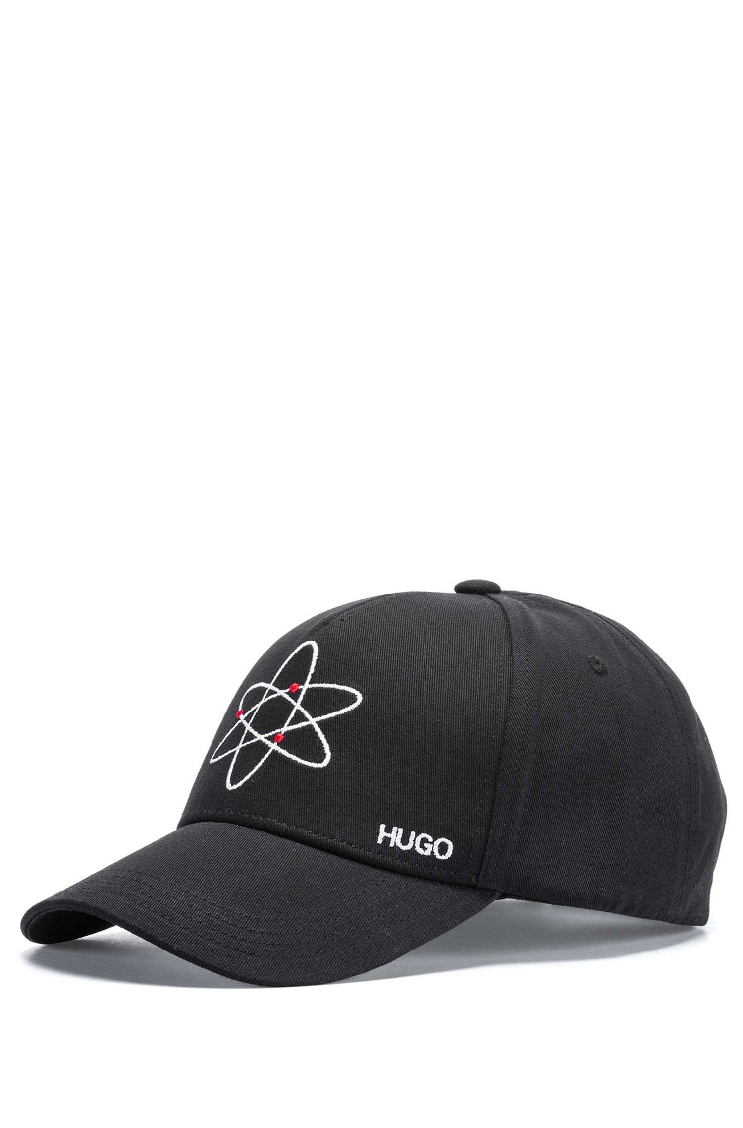 Cotton cap with atom embroidery, Black