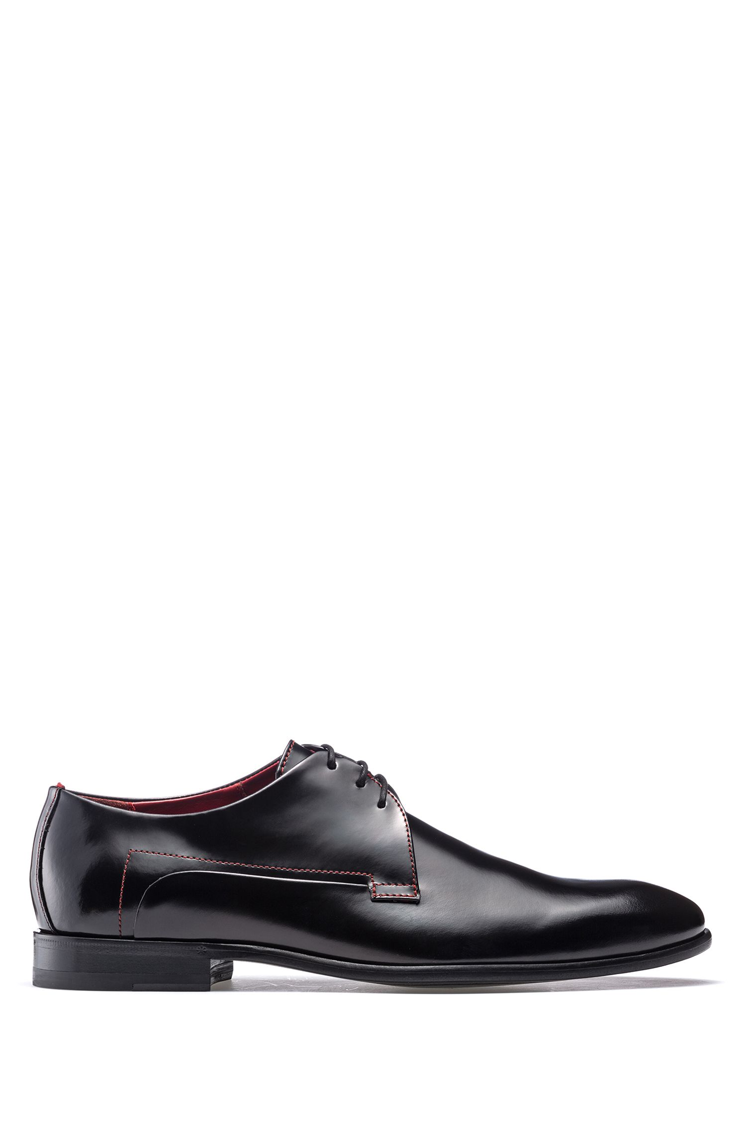Derby shoes in brush-off calf leather, Black