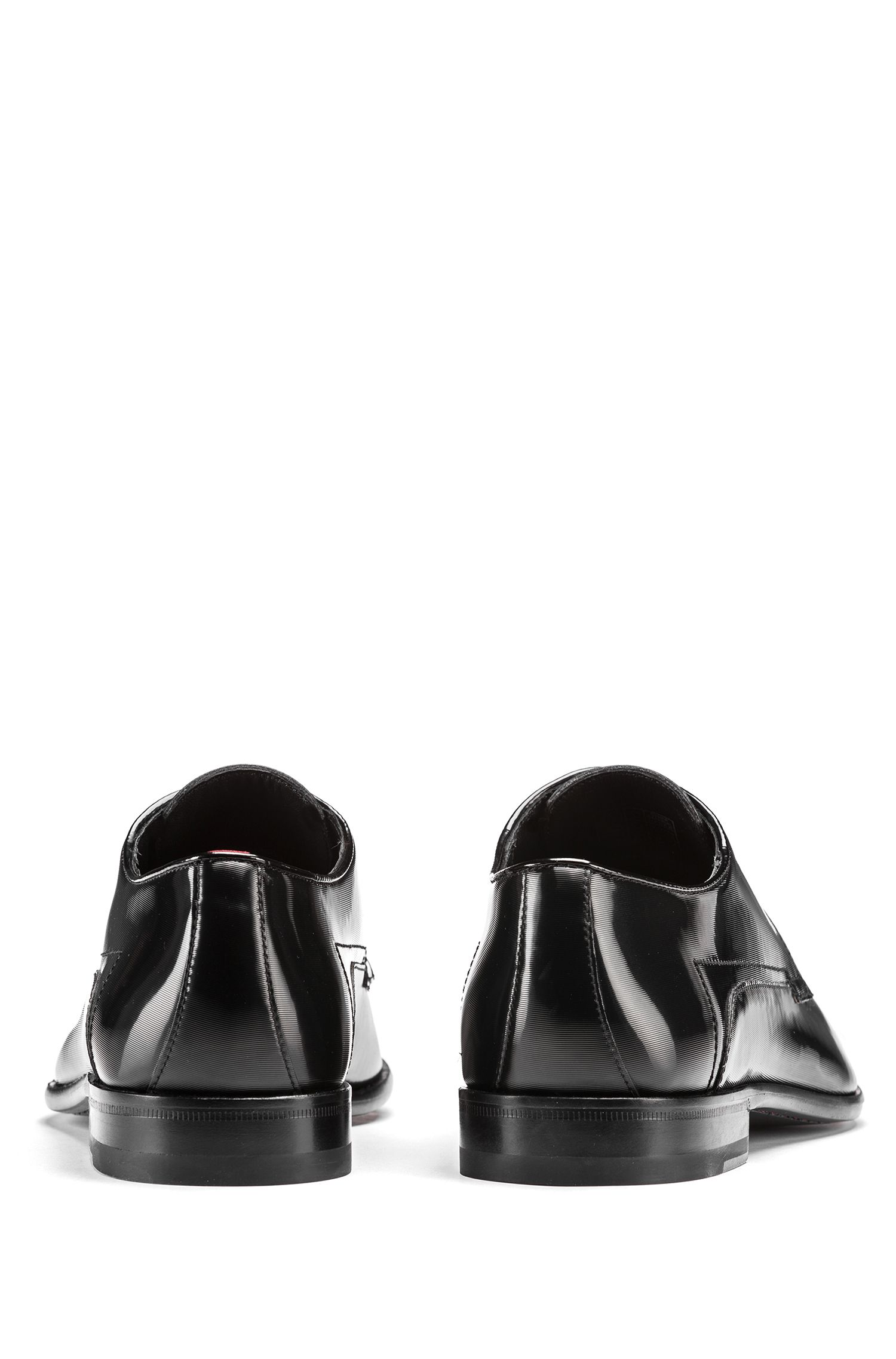 Derby shoes with metallic finishing and seam detailing, Black