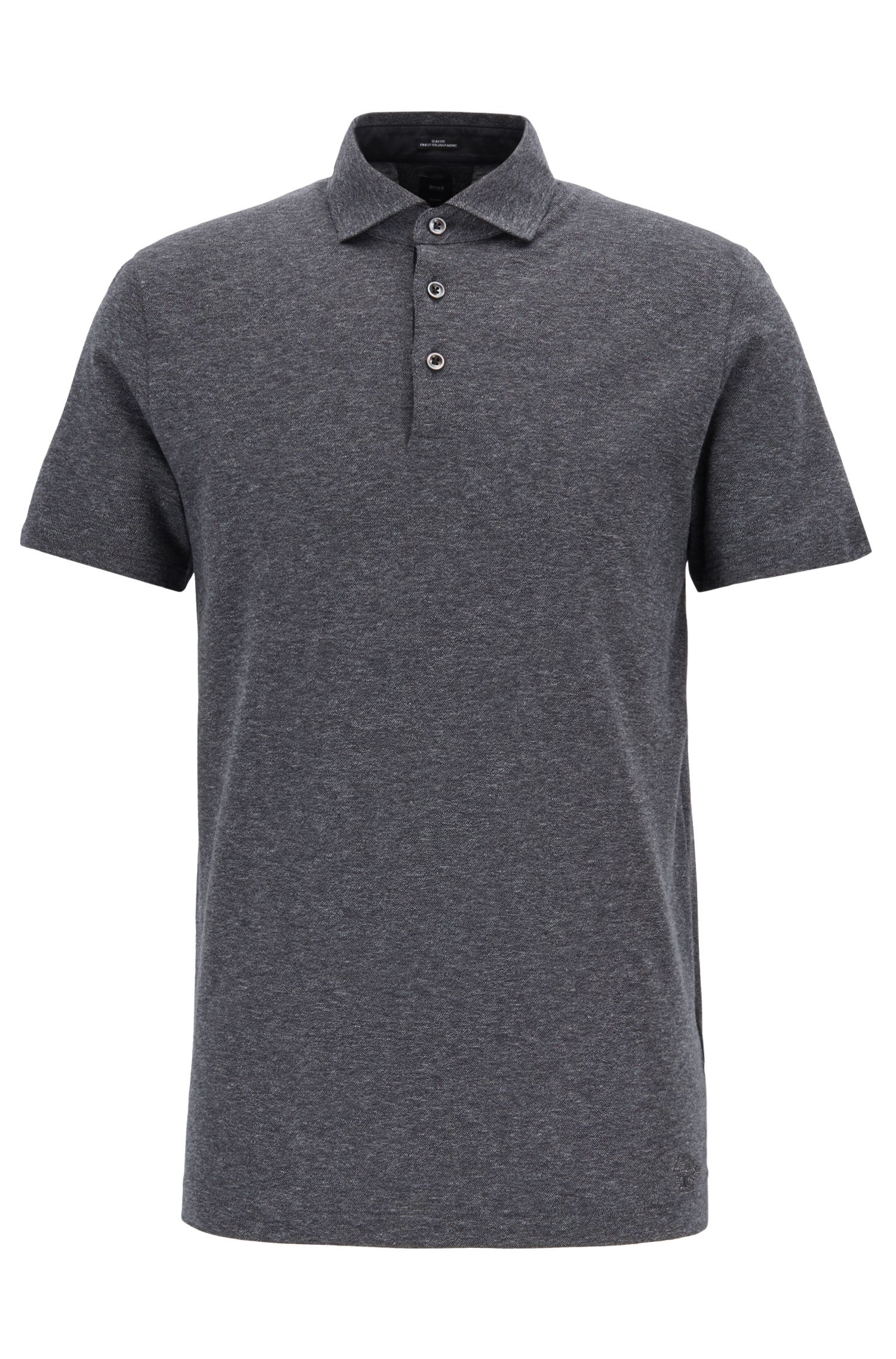 Slim-fit polo shirt with embroidered Jeremyville pig, Black