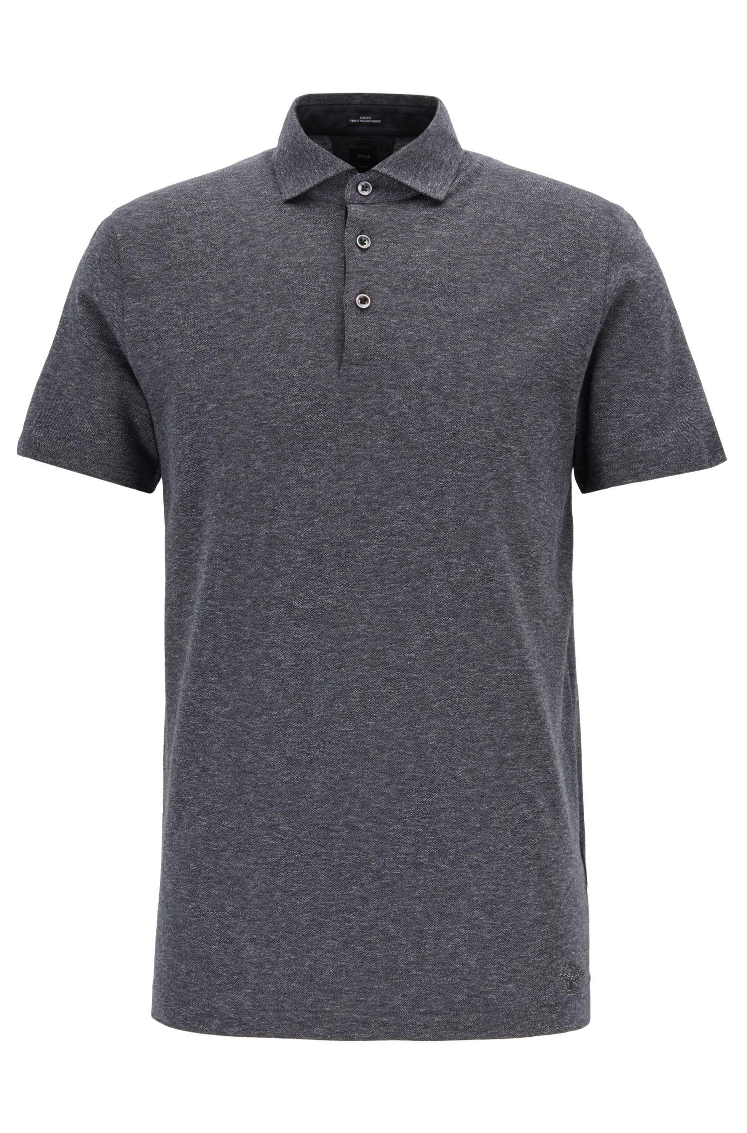 Slim-Fit Poloshirt mit gesticktem Jeremyville-Schweinchen, Schwarz