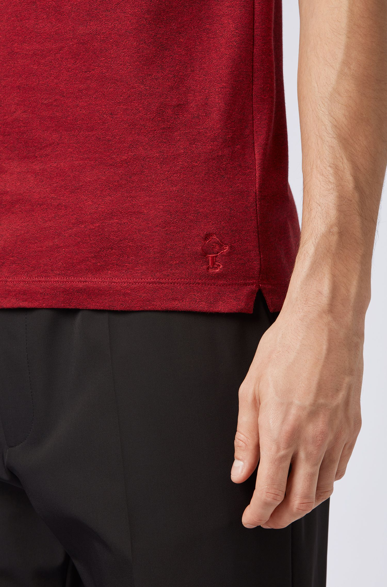 Slim-fit polo shirt with embroidered Jeremyville pig, Red