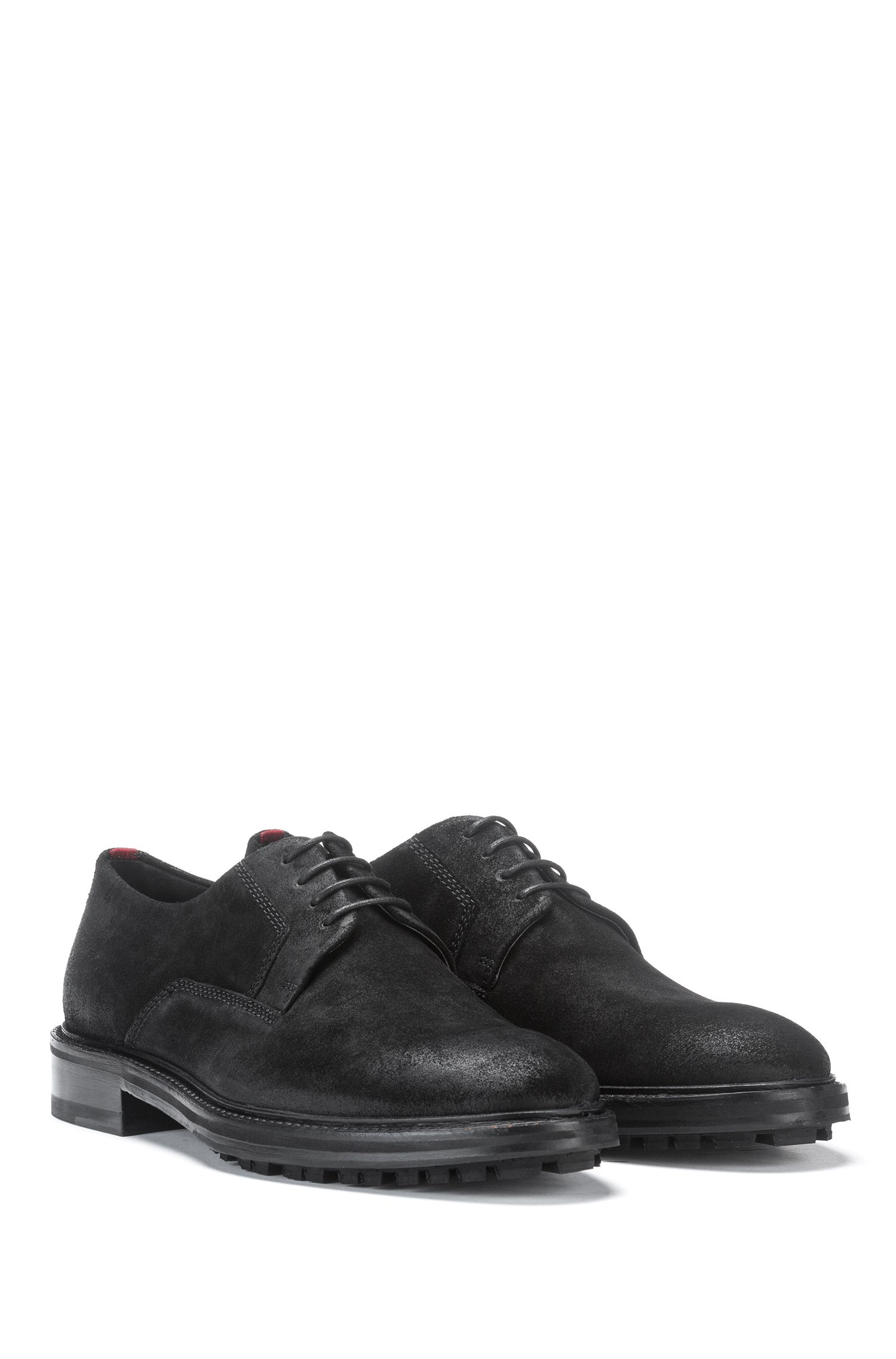 Derby shoes in waxed suede leather with lug sole, Black