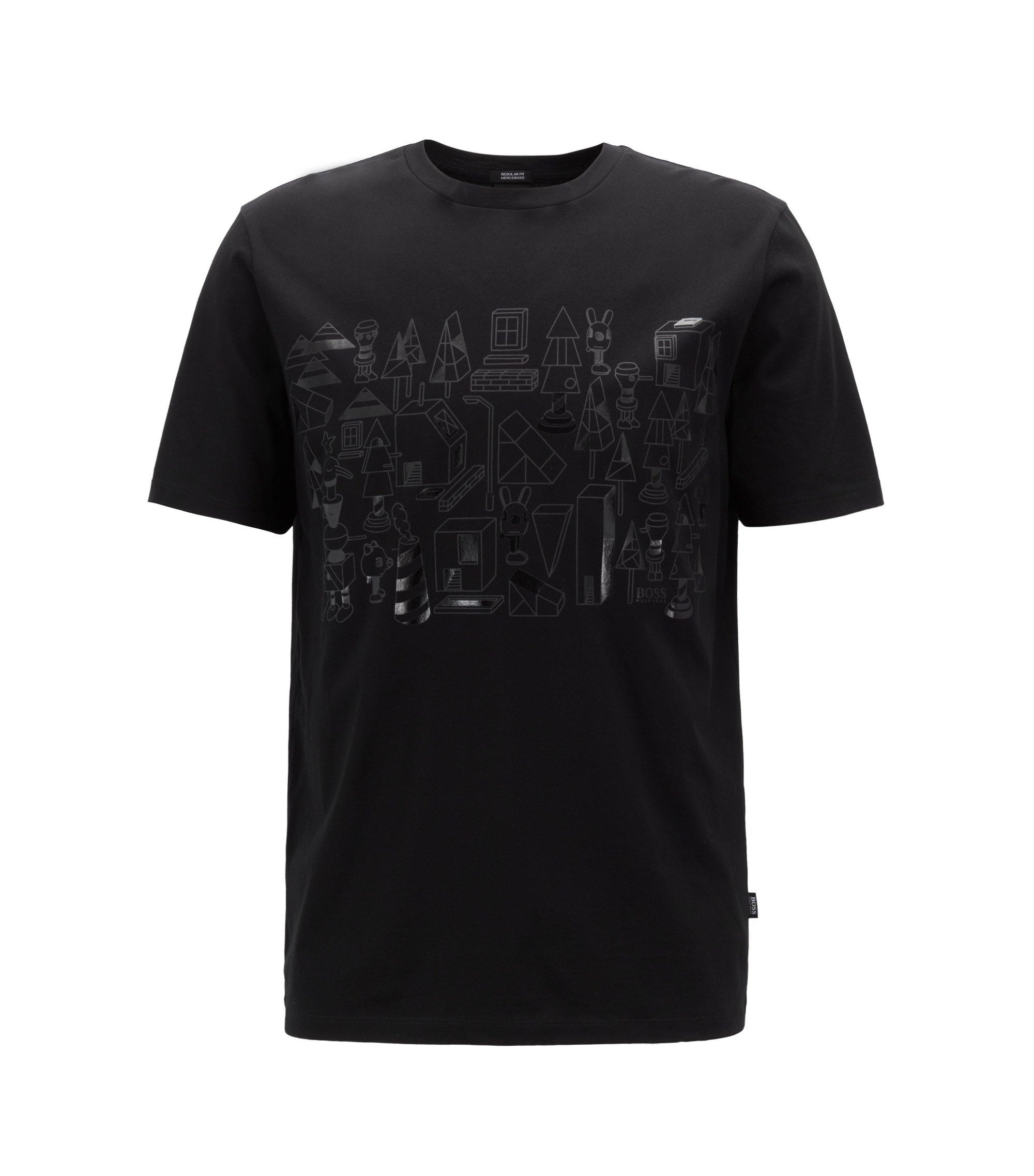 Limited edition T-shirt van gemerceriseerde katoen met ton-sur-ton Jeremyville-print, Zwart