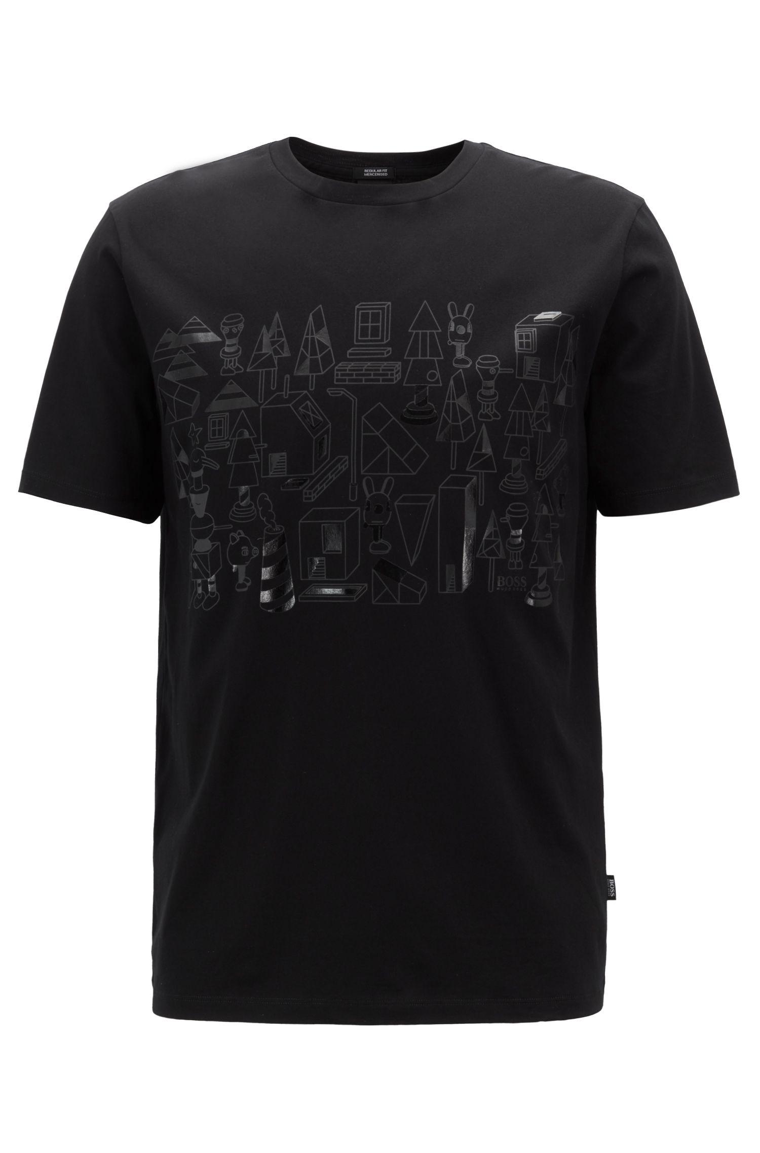 Camiseta de algodón mercerizado de edición limitada con estampado de Jeremyville en tono a juego, Negro