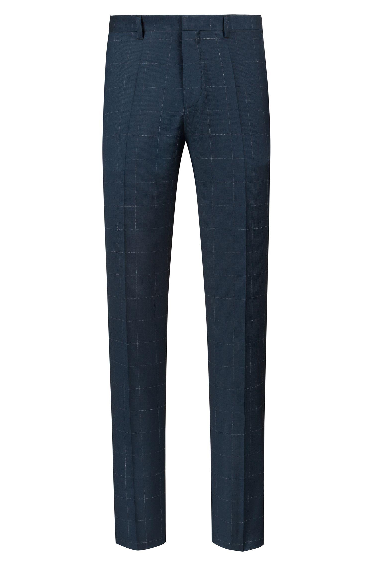 Extra Slim-Fit Anzug aus karierter Schurwolle, Dunkelgrün