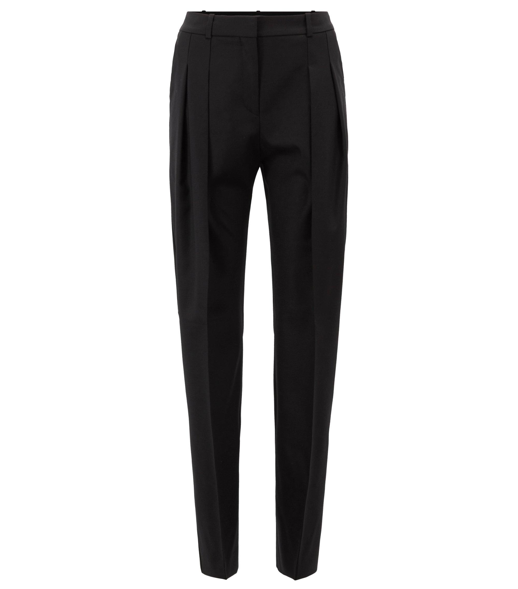 Relaxed-fit wide-leg tuxedo trousers in Italian stretch wool, Black