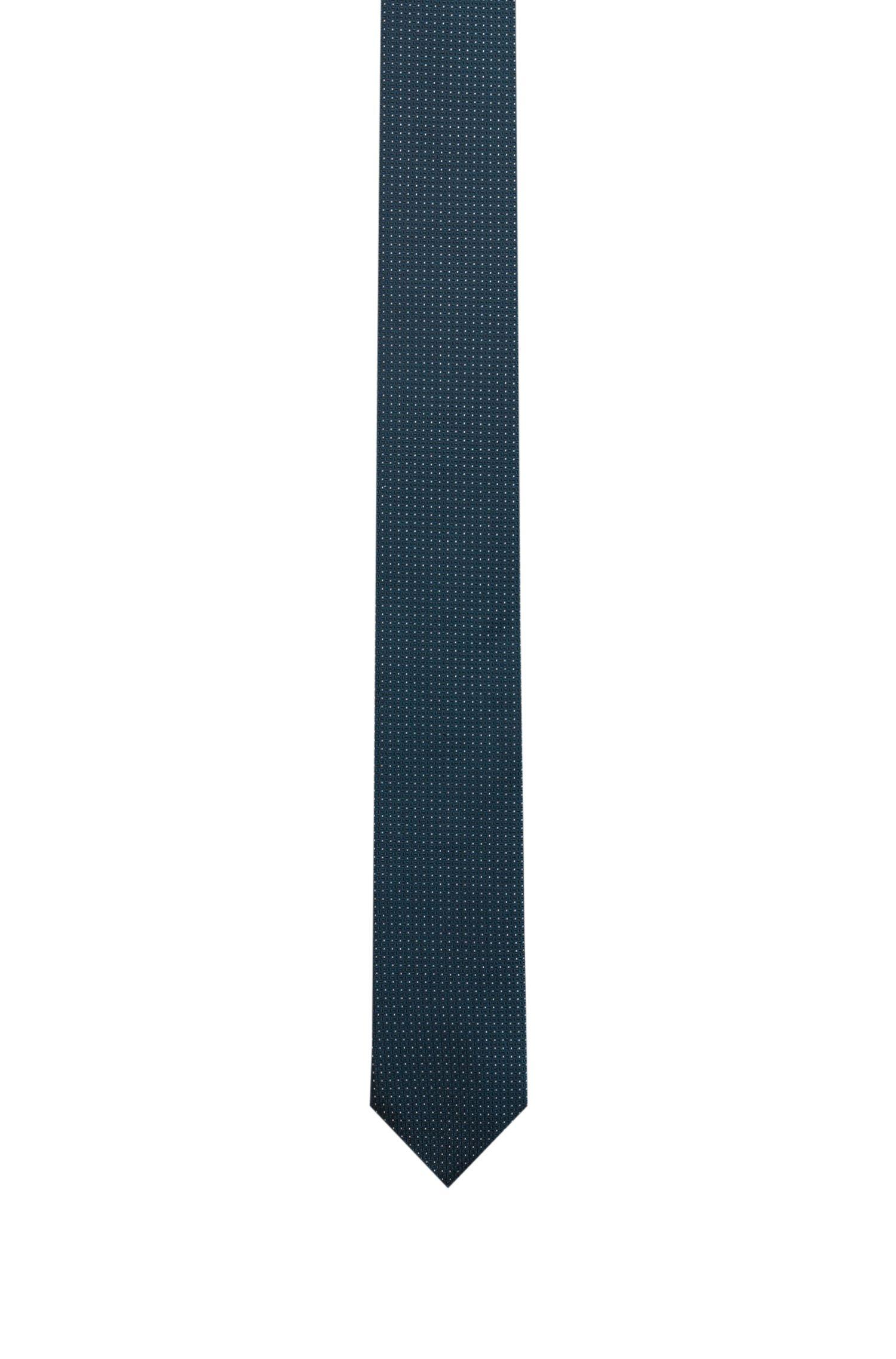Corbata de jacquard en seda con microestampado, Verde oscuro