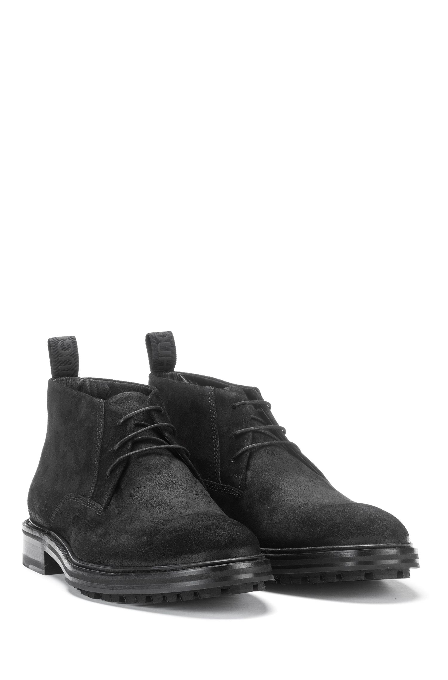 Desert boots in waxed calf suede, Black