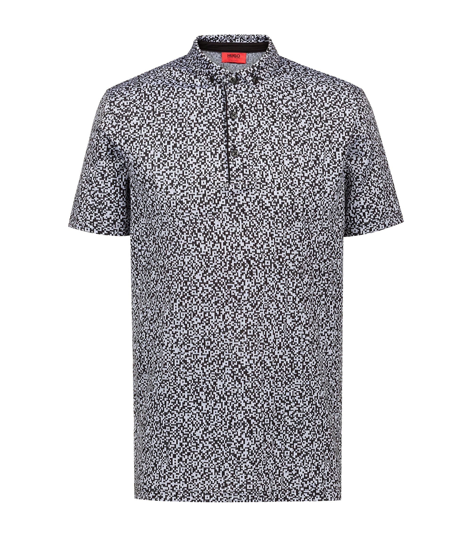 Slim-fit polo shirt in mercerised cotton jacquard, Black