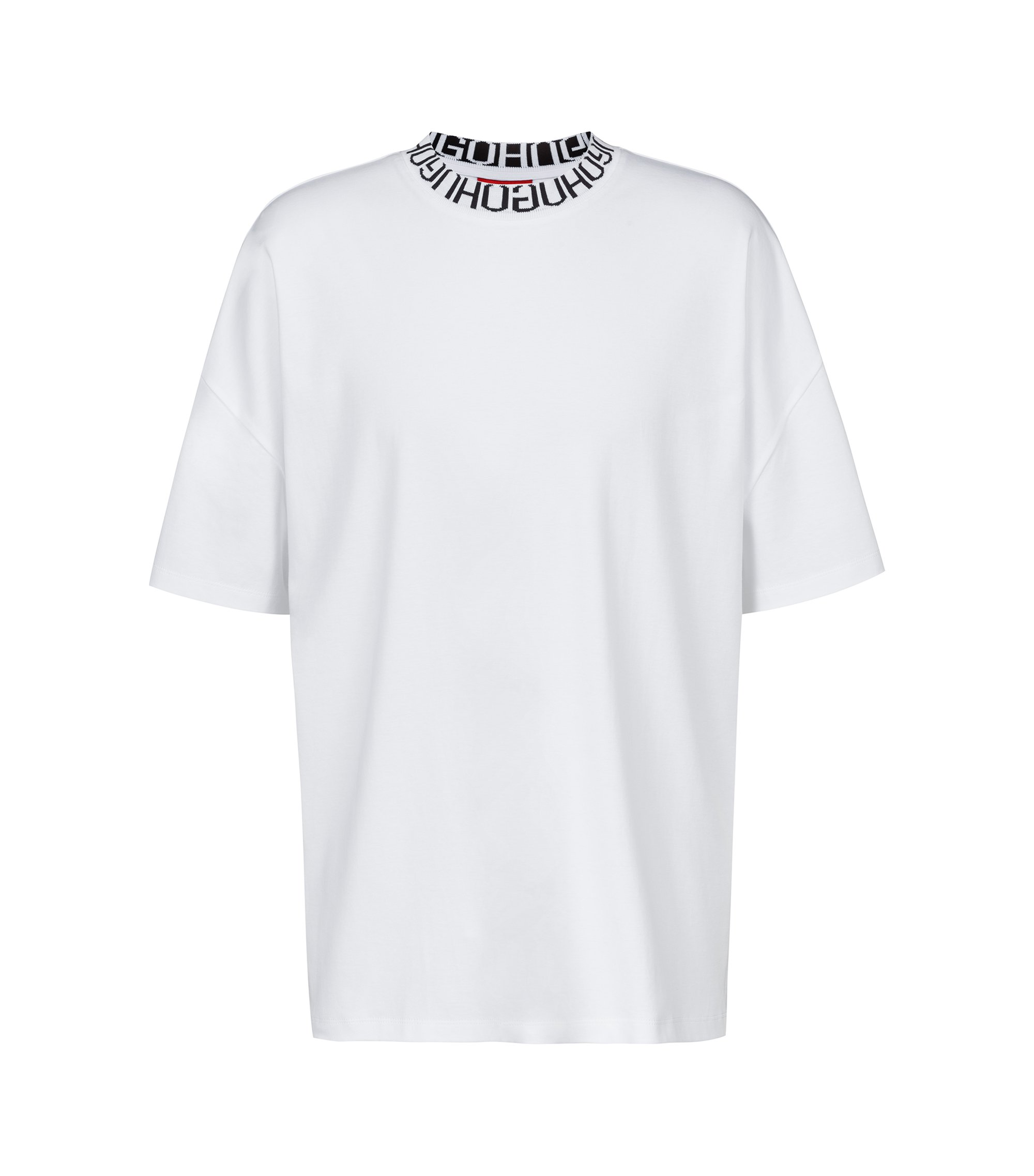 T-shirt Oversized Fit, avec logo inversé à l'encolure, Blanc