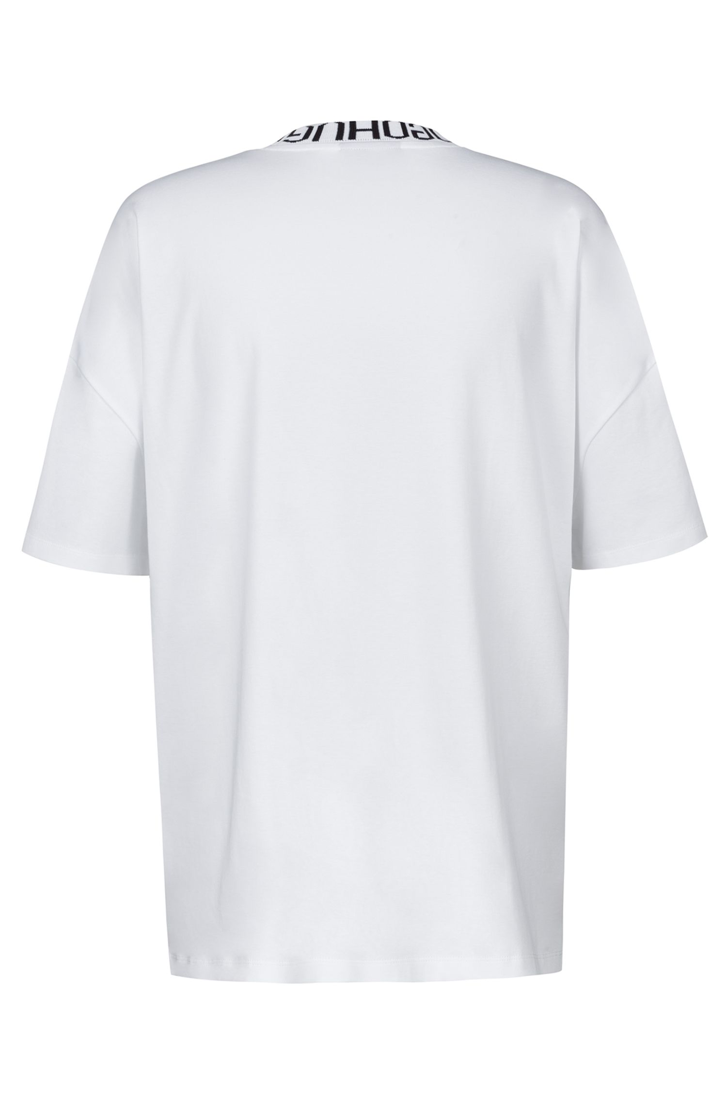 Oversized-fit T-shirt with reverse-logo neckline, White