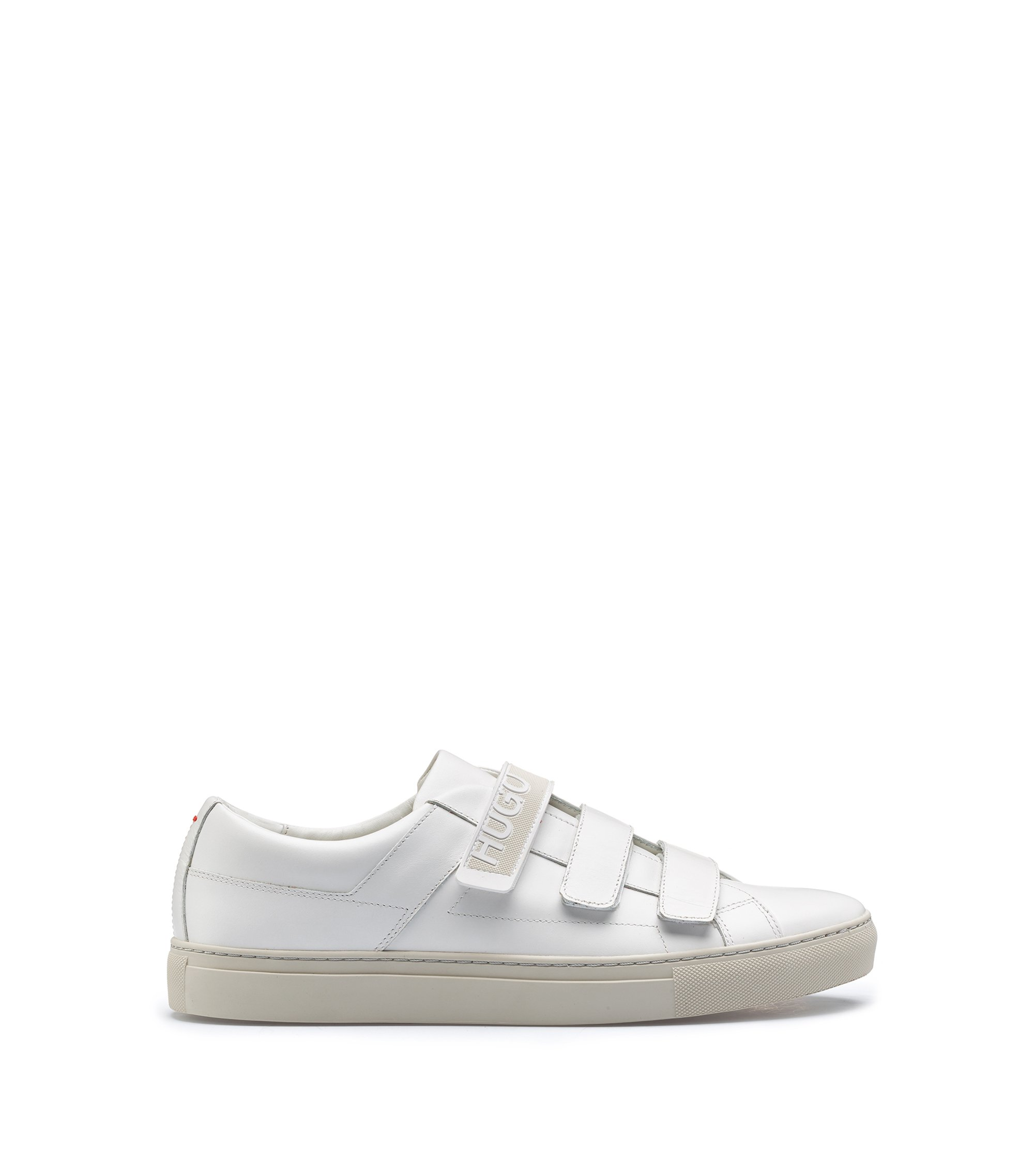 Leather touch-fastening trainers with branded strap, White