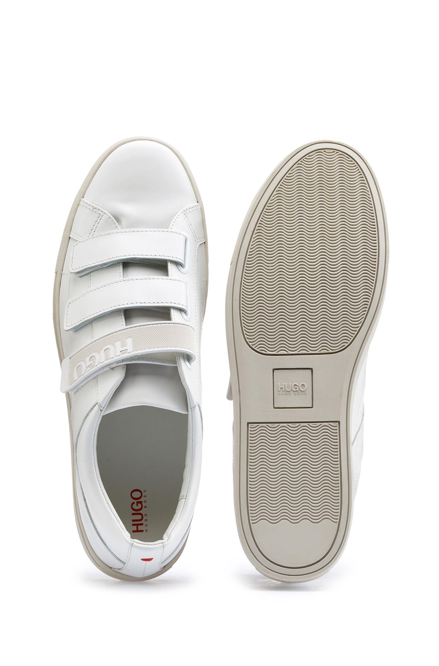 Leren sneakers met klittenbandsluitingen en logobandje, Wit