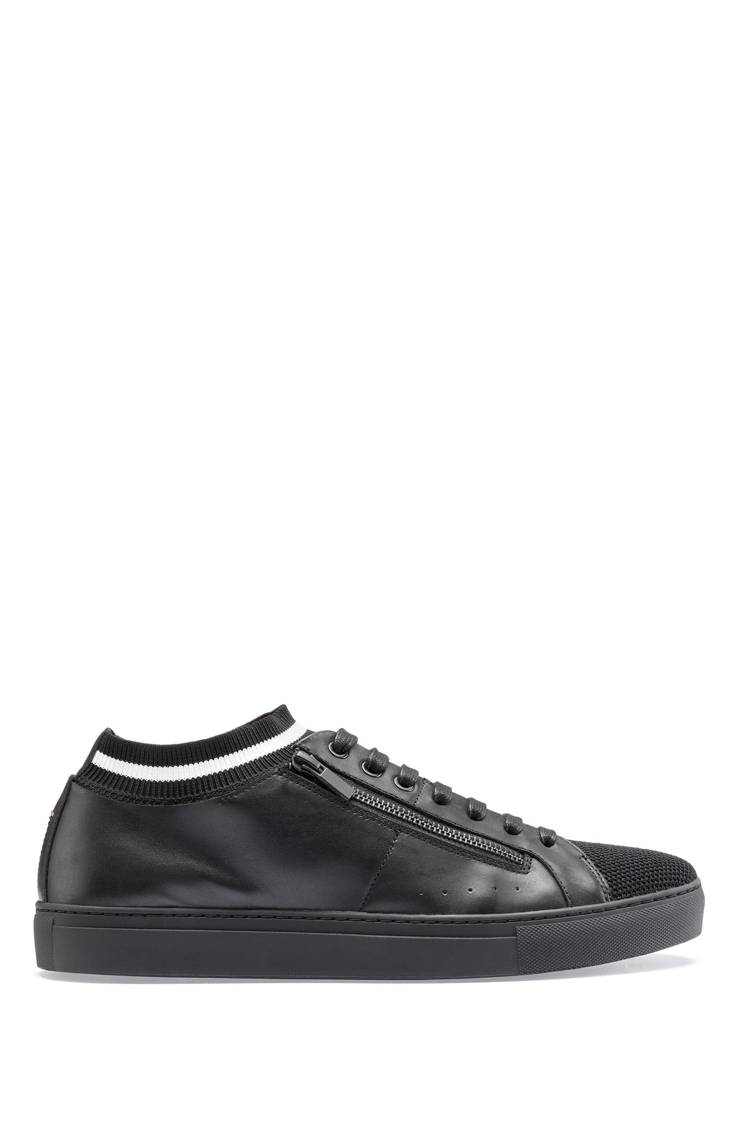 Tennis-inspired trainers in nappa leather with knitted sock, Black