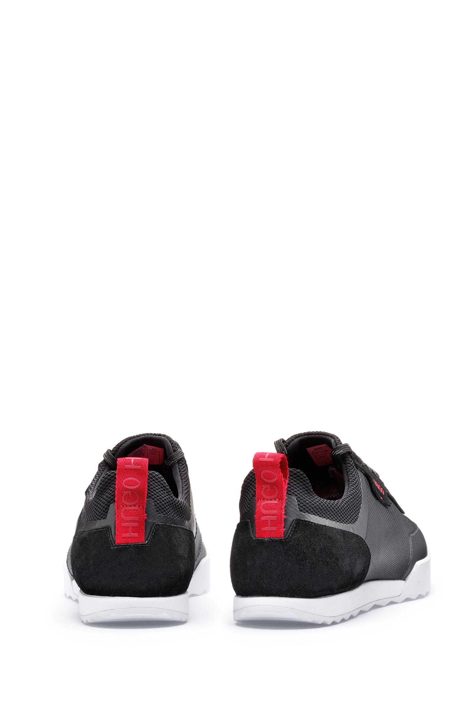Lowtop Sneakers aus Mesh und Veloursleder, Schwarz