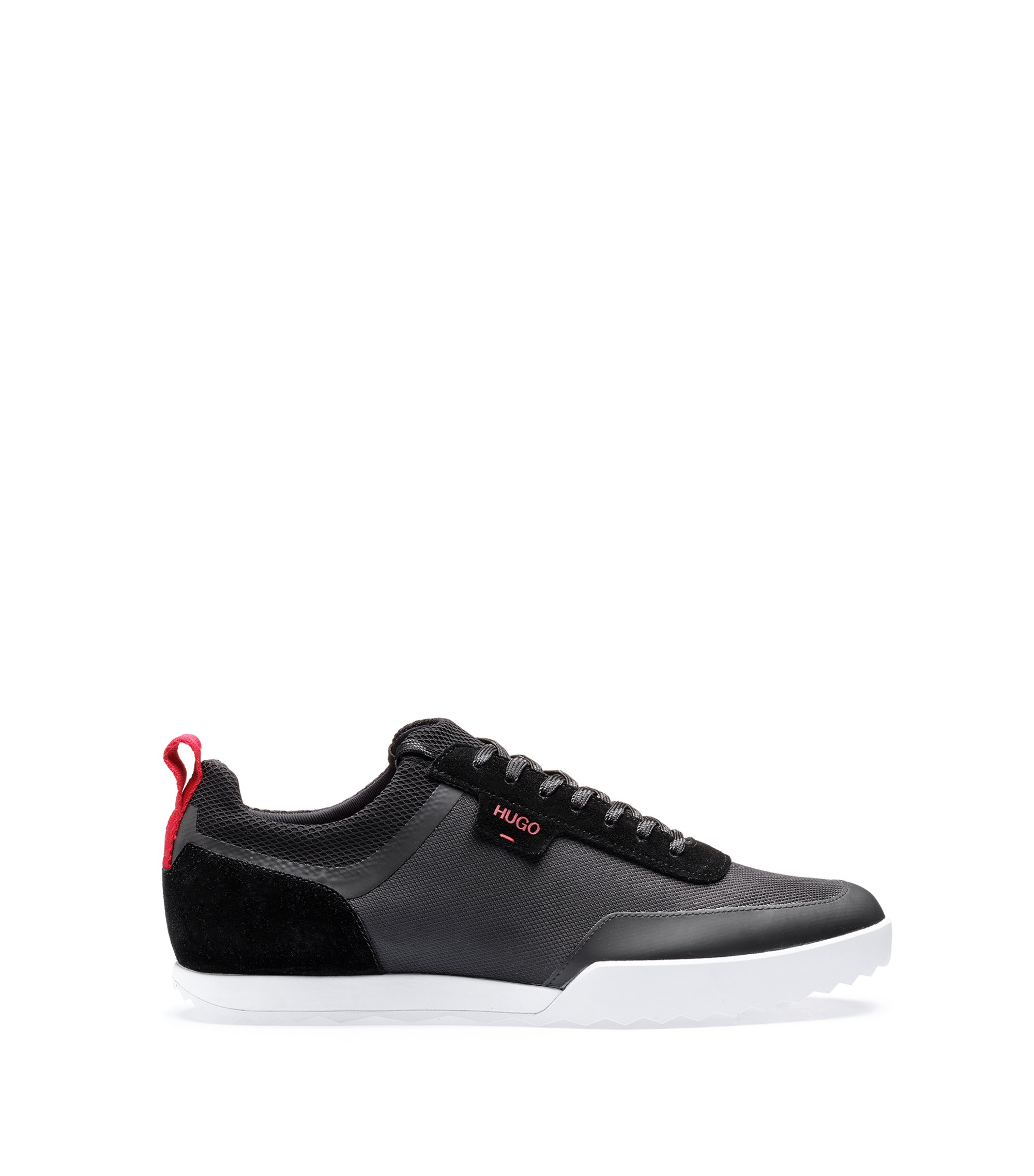 Low-top trainers in technical mesh and suede, Black