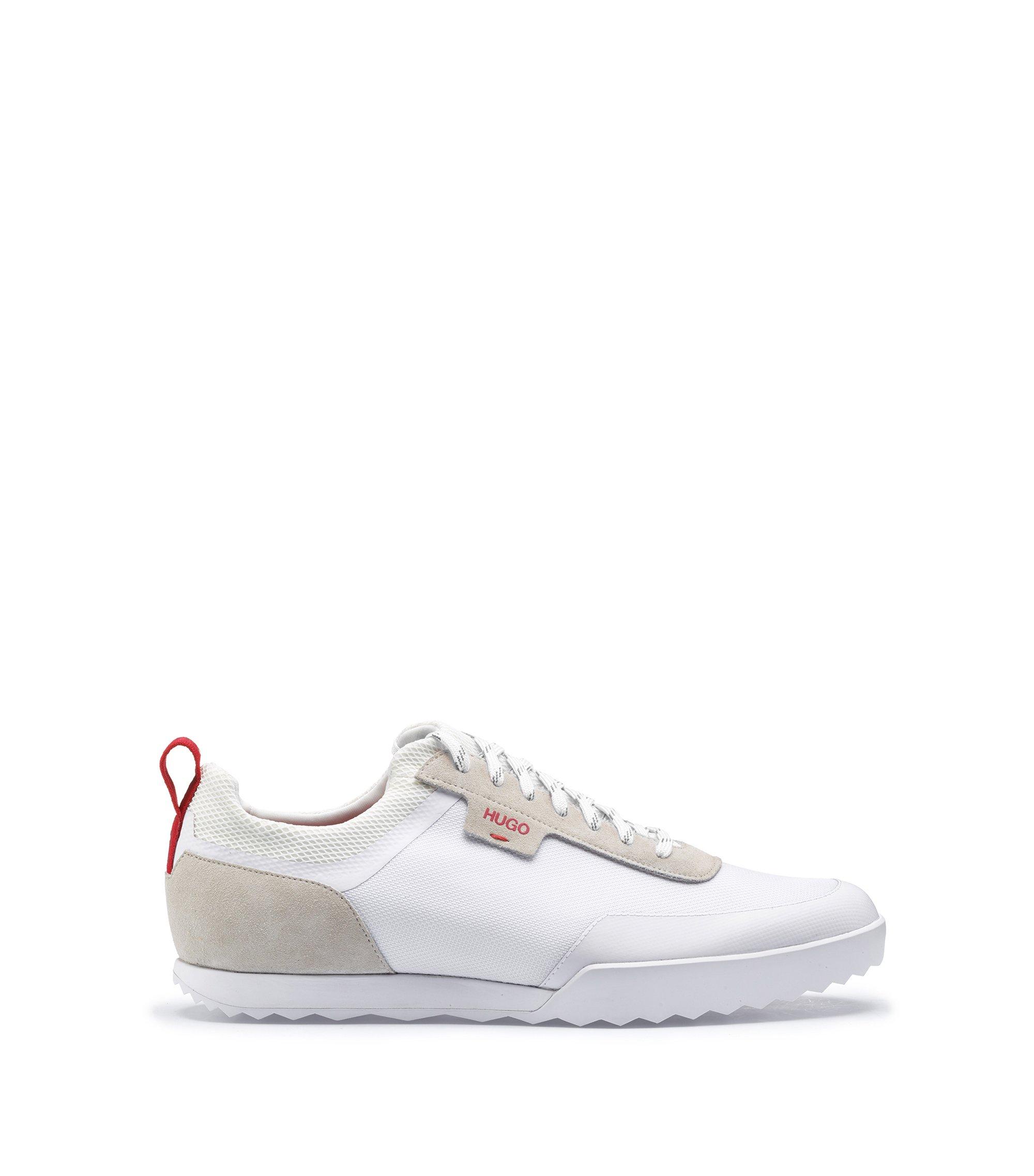 Lowtop Sneakers aus Mesh und Veloursleder, Weiß