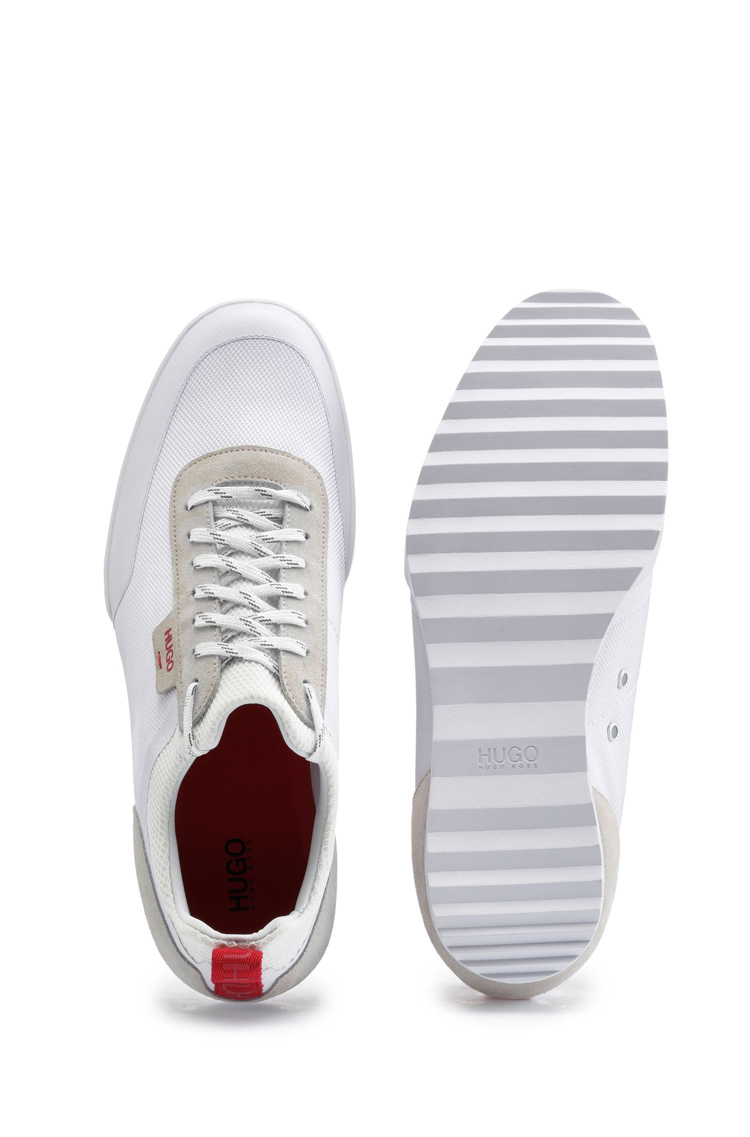 Low-top trainers in technical mesh and suede, White