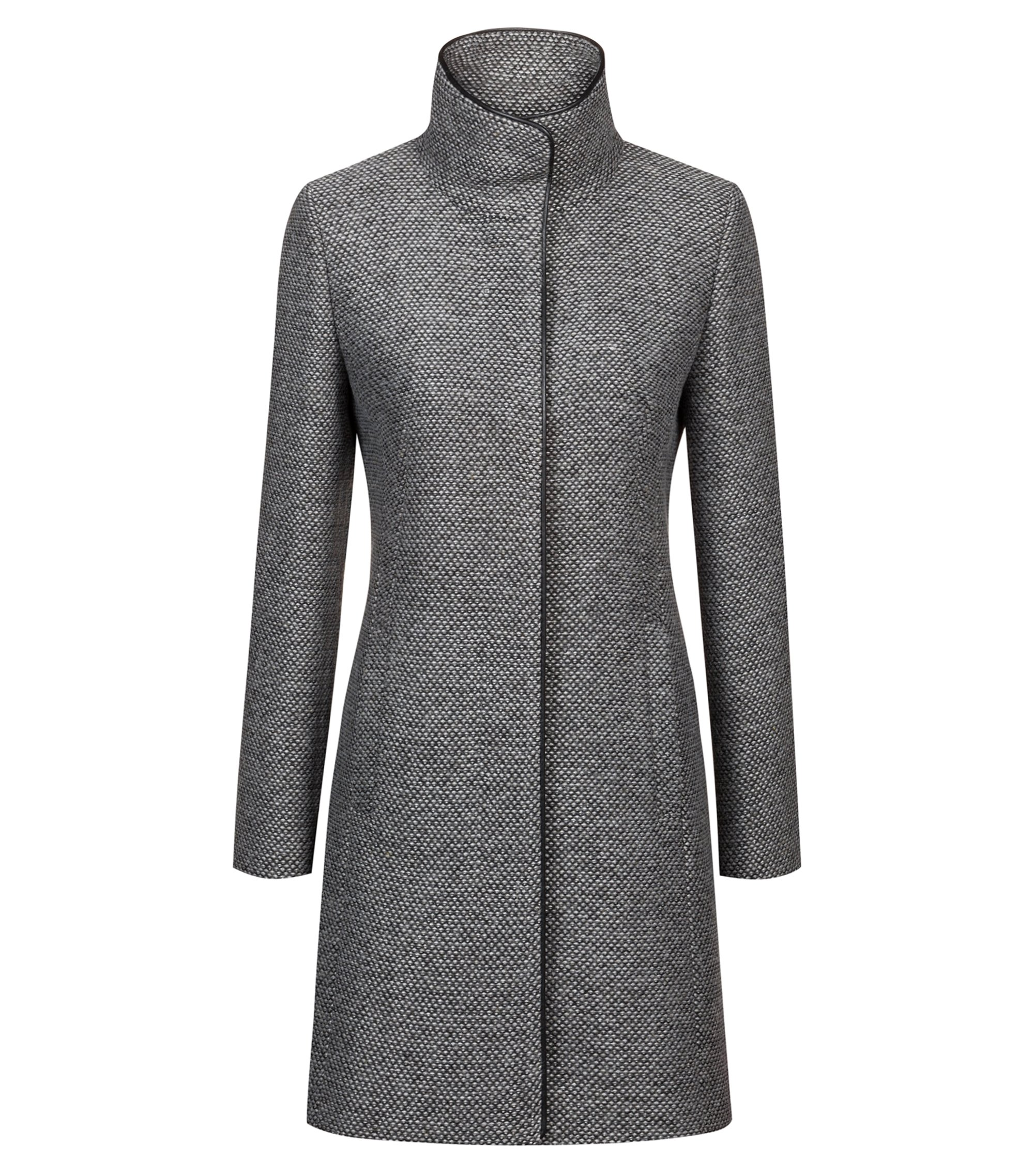 Patterned coat with faux-leather trims and stand collar, Dark GreyDark Grey