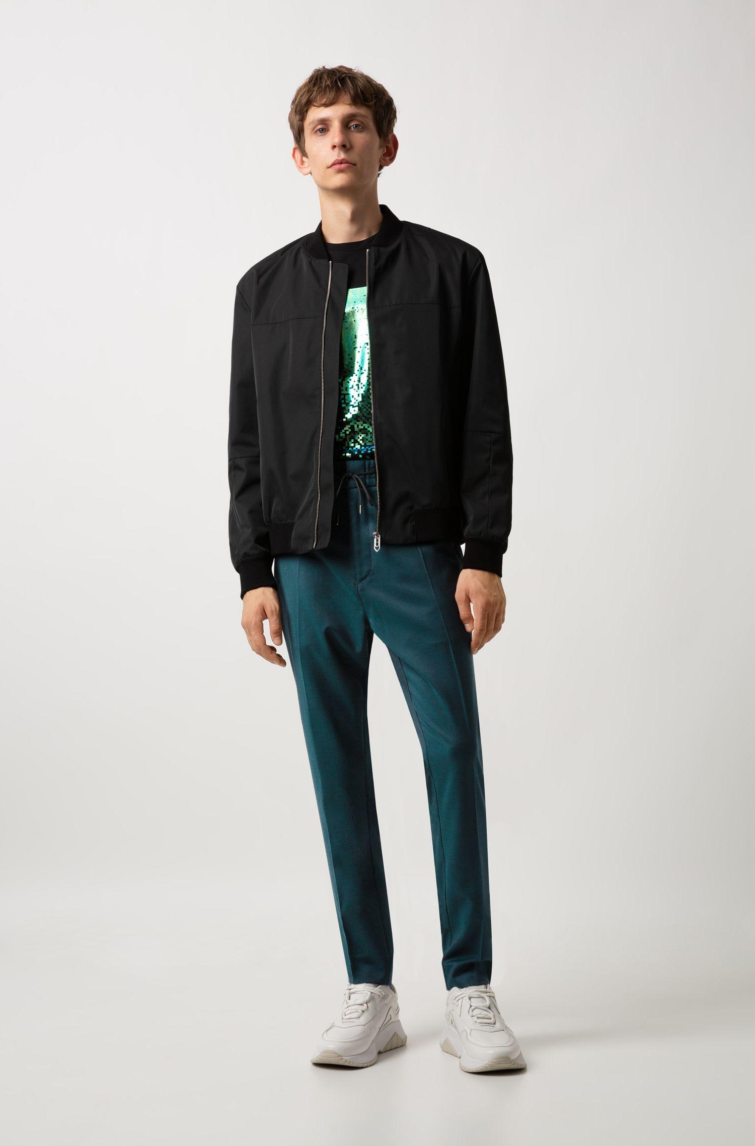 T-shirt van katoen met ronde hals en abstracte print, Zwart