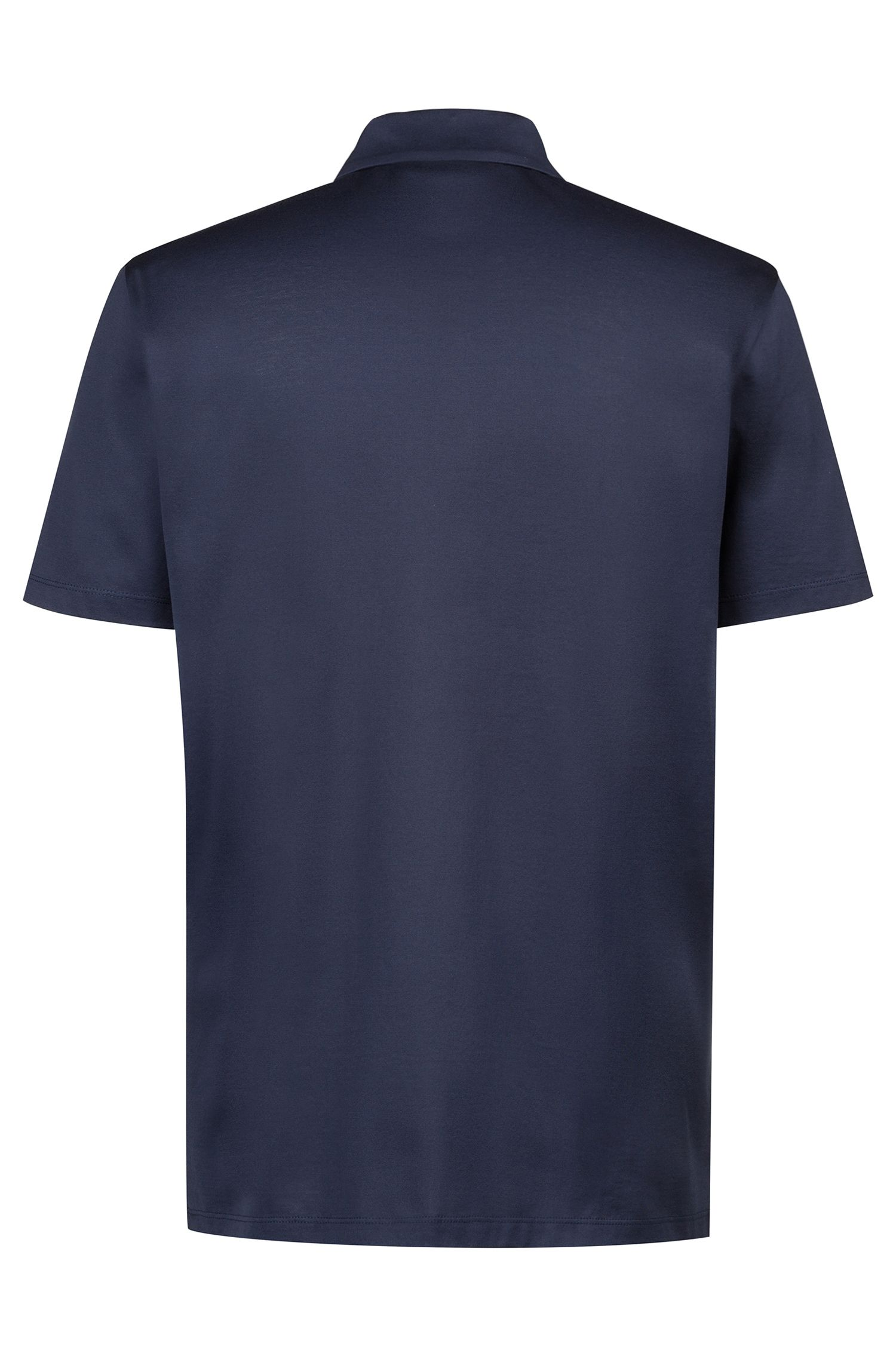 Regular-fit polo shirt in cotton with paperclip detail, Dark Blue