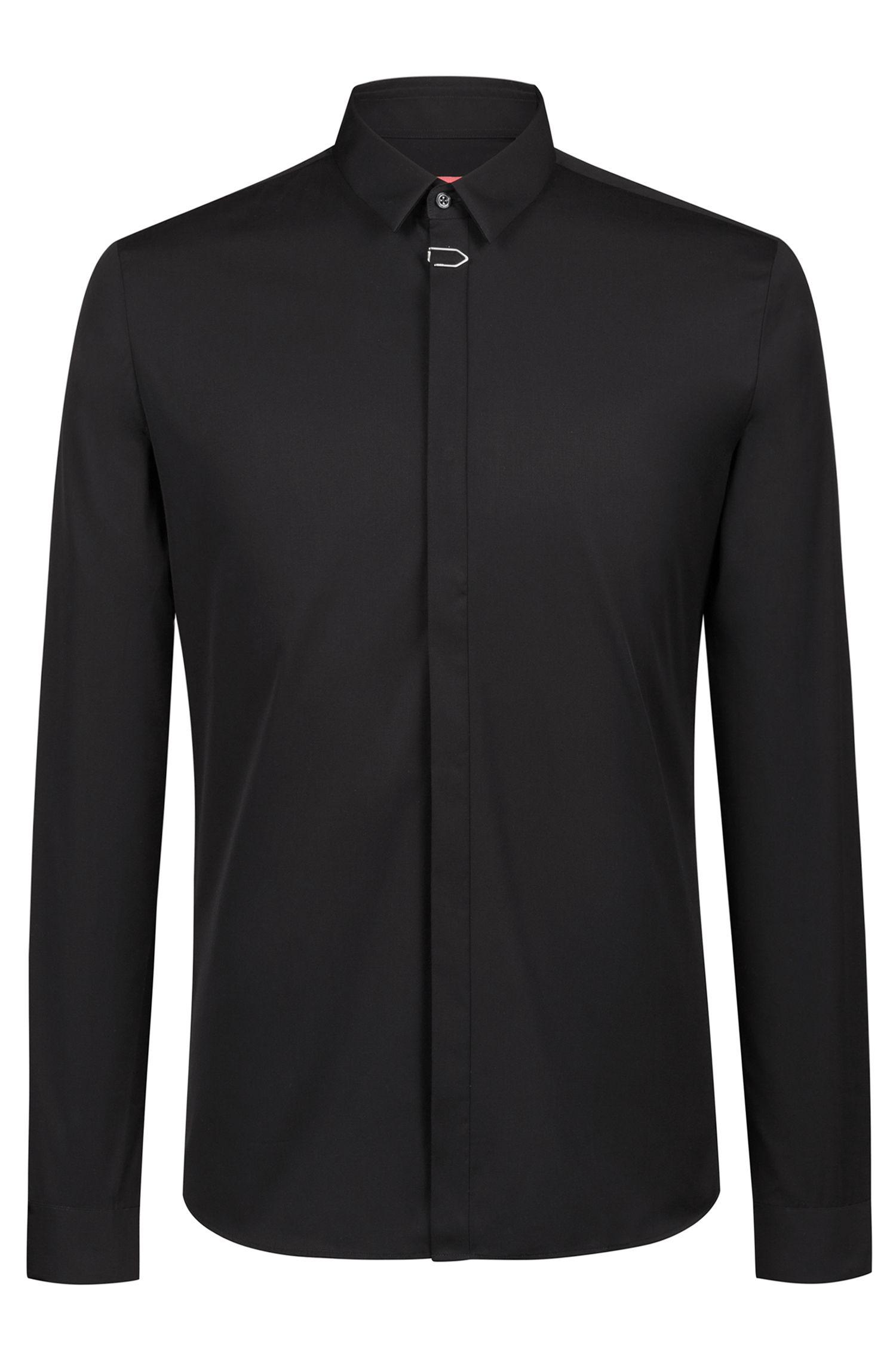 Extra-slim-fit shirt in cotton with placket clip, Black