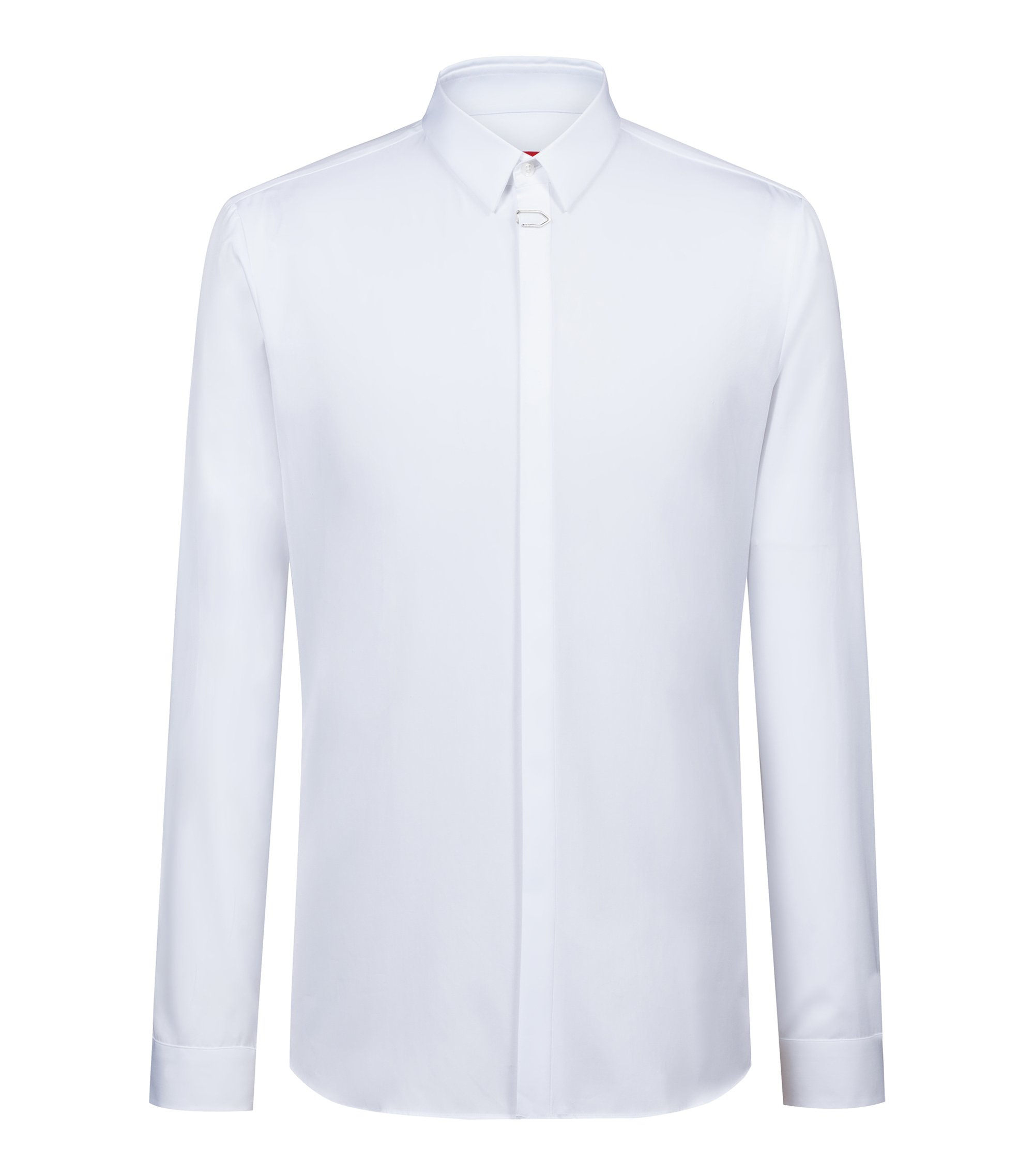 Extra-slim-fit shirt in cotton with placket clip, White