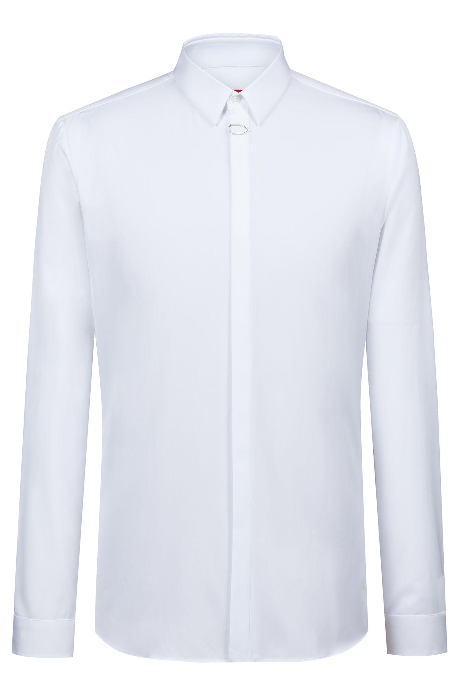 Chemise Extra Slim Fit en coton avec pince sur la patte de boutonnage, Blanc