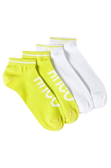 Two-pack of ankle socks in a cotton blend, Open Yellow