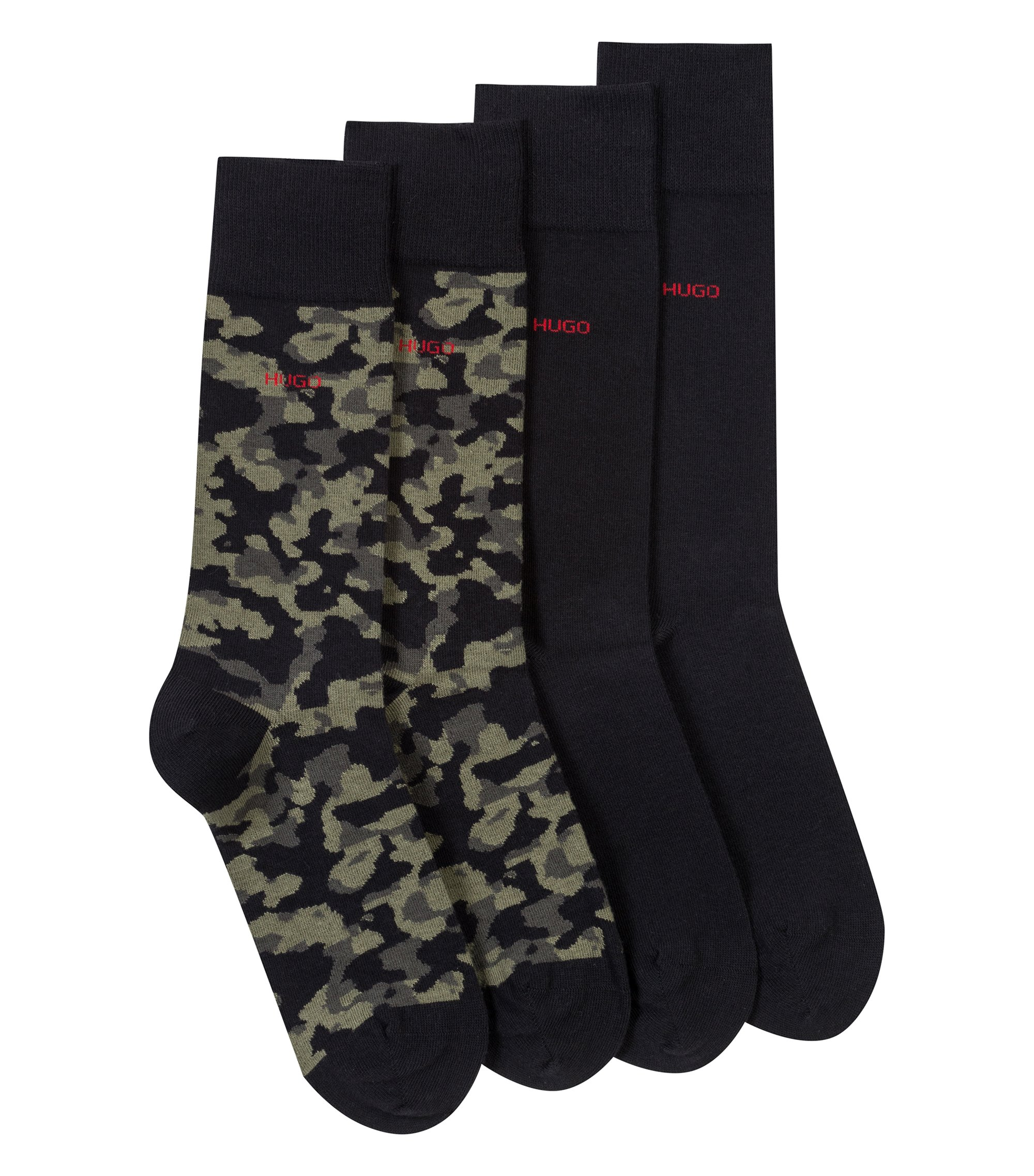 Two-pack of cotton-blend plain and camouflage socks, Schwarz