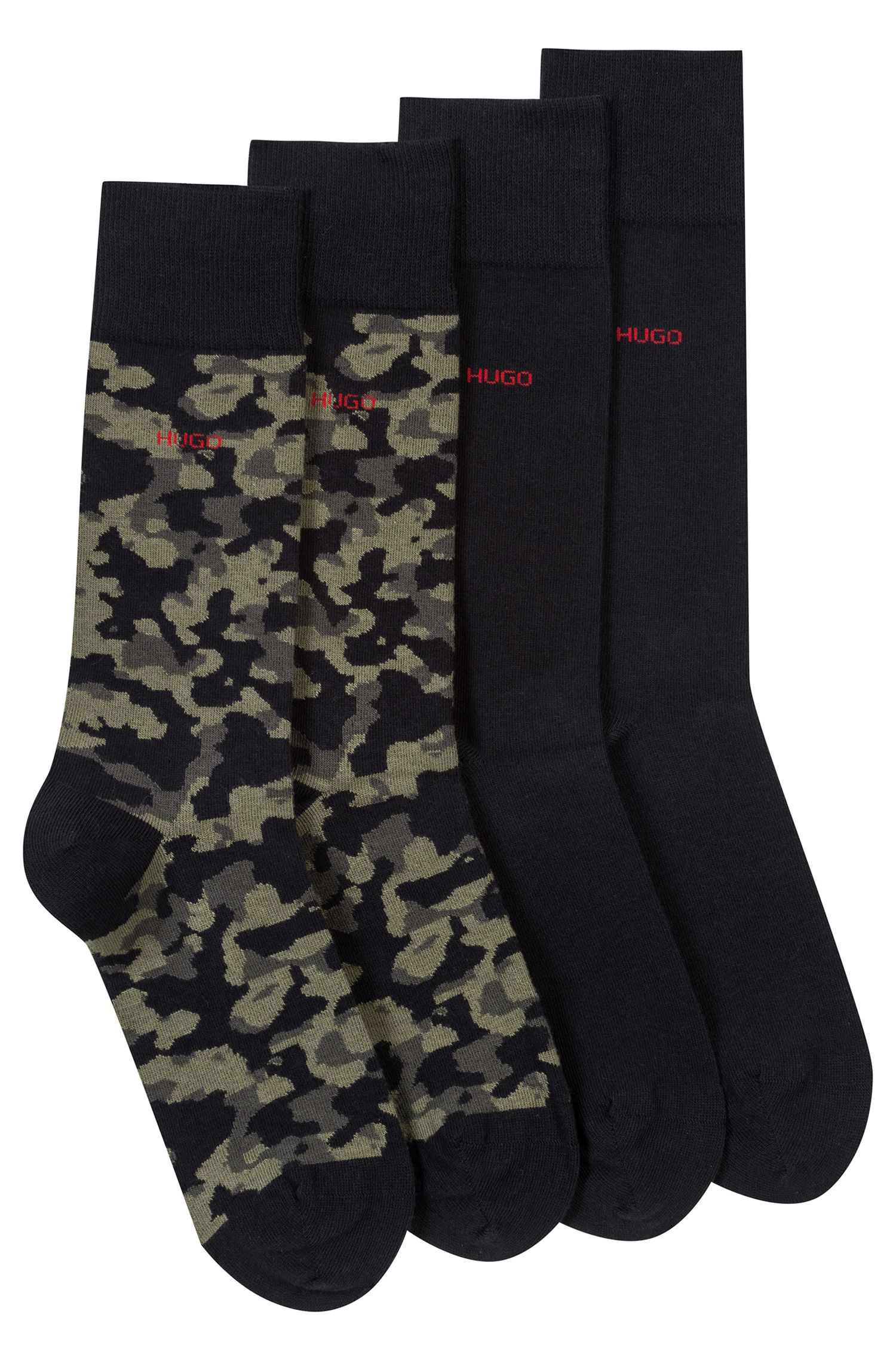 Paquete de dos pares de calcetines lisos y de camuflaje en mezcla de algodón, Negro