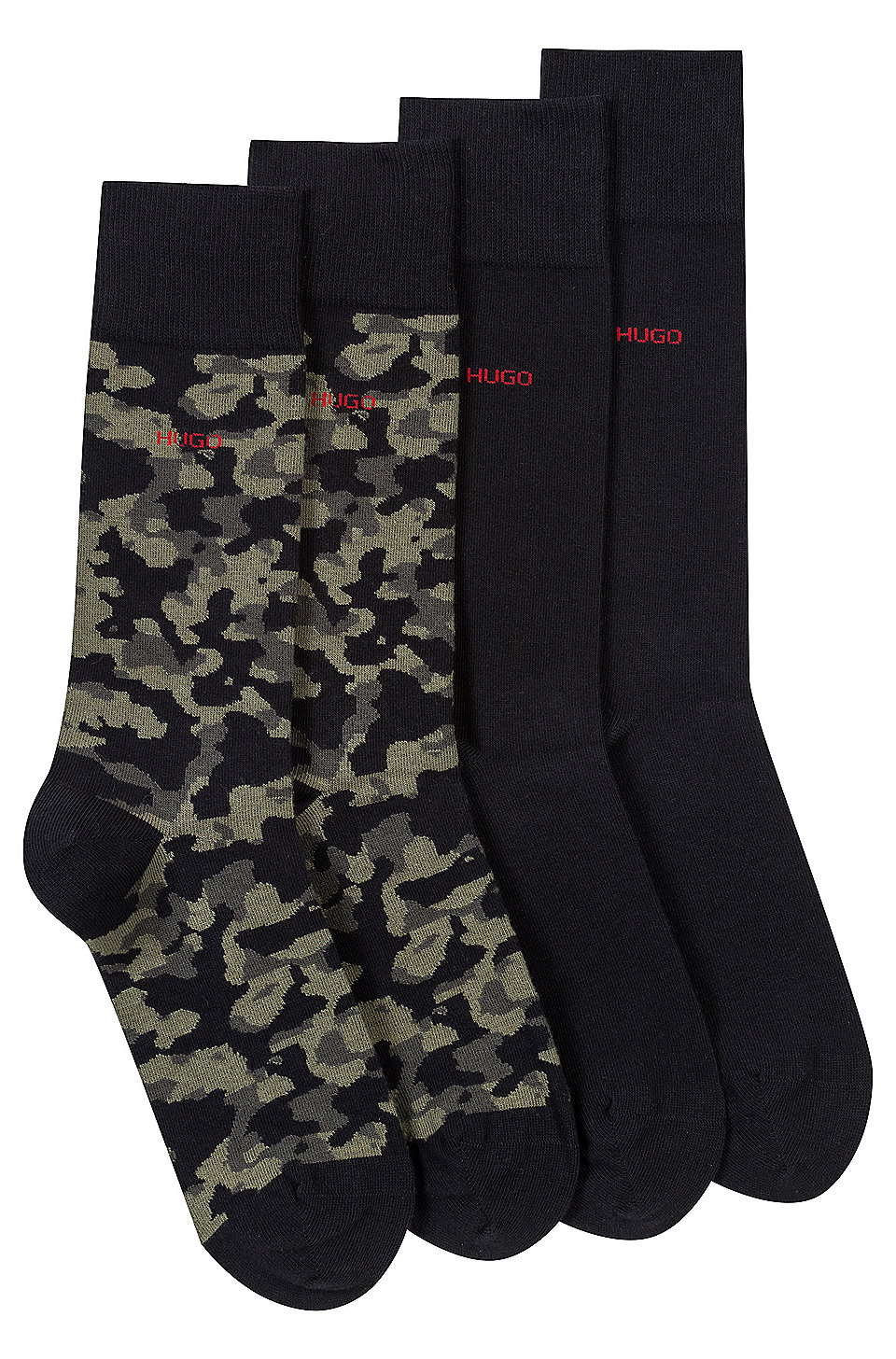 hugo zweier pack socken aus baumwoll mix mit unifarbenem dessin und camouflage motiv. Black Bedroom Furniture Sets. Home Design Ideas