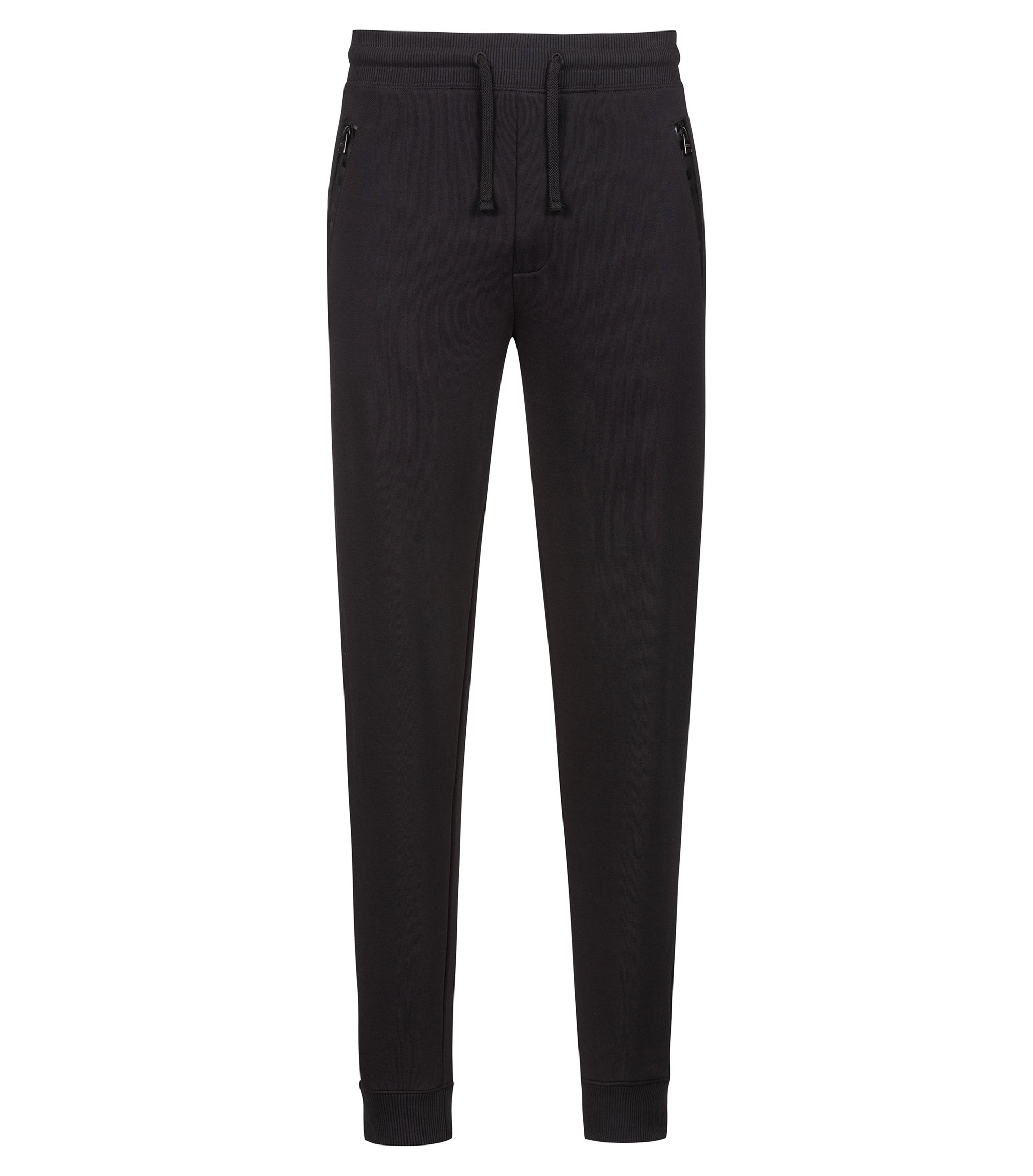 French-terry trousers with logo-tape zipped pockets, Black