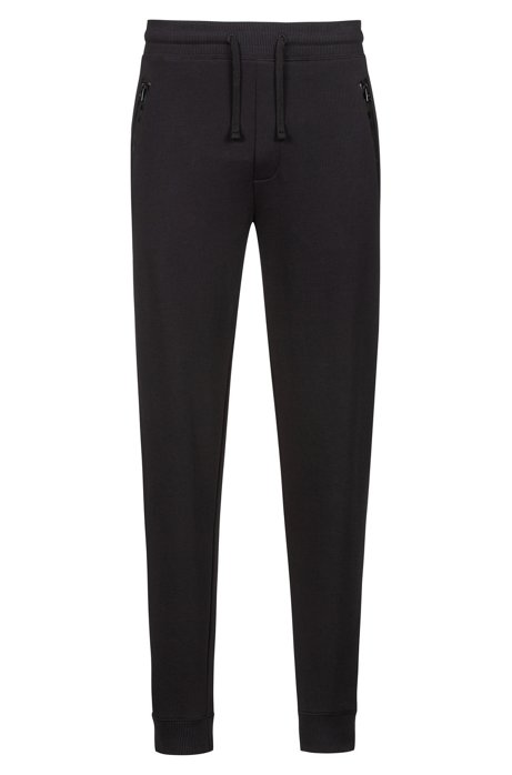 Regular-Fit Hose aus French Terry mit Logo-Tape an den Reißverschlusstaschen, Schwarz