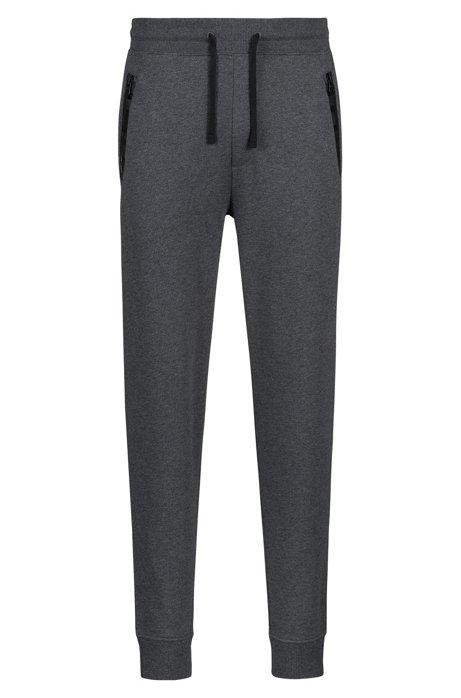 Regular-Fit Hose aus French Terry mit Logo-Tape an den Reißverschlusstaschen, Grau
