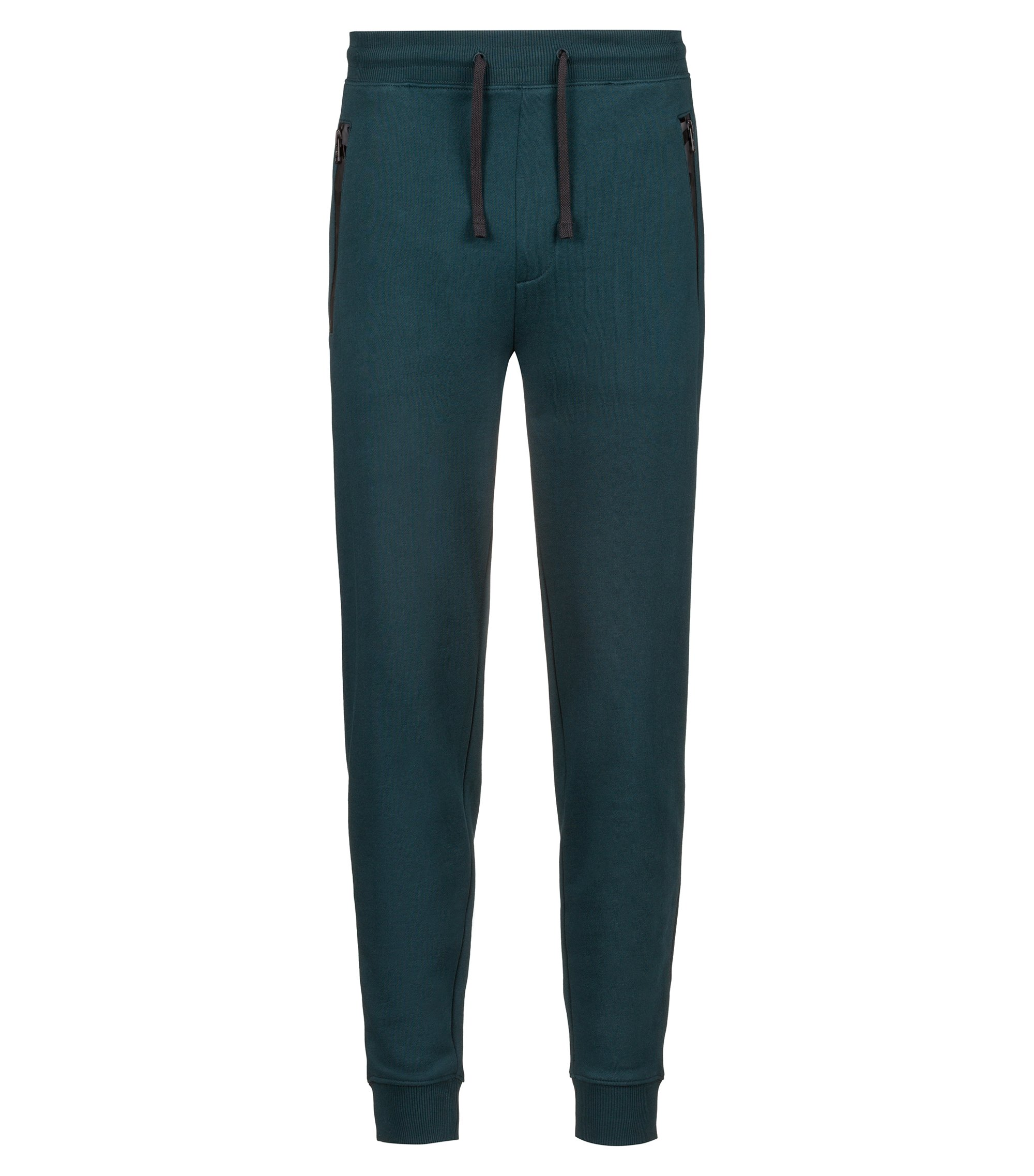French-terry trousers with logo-tape zipped pockets, Dark Green