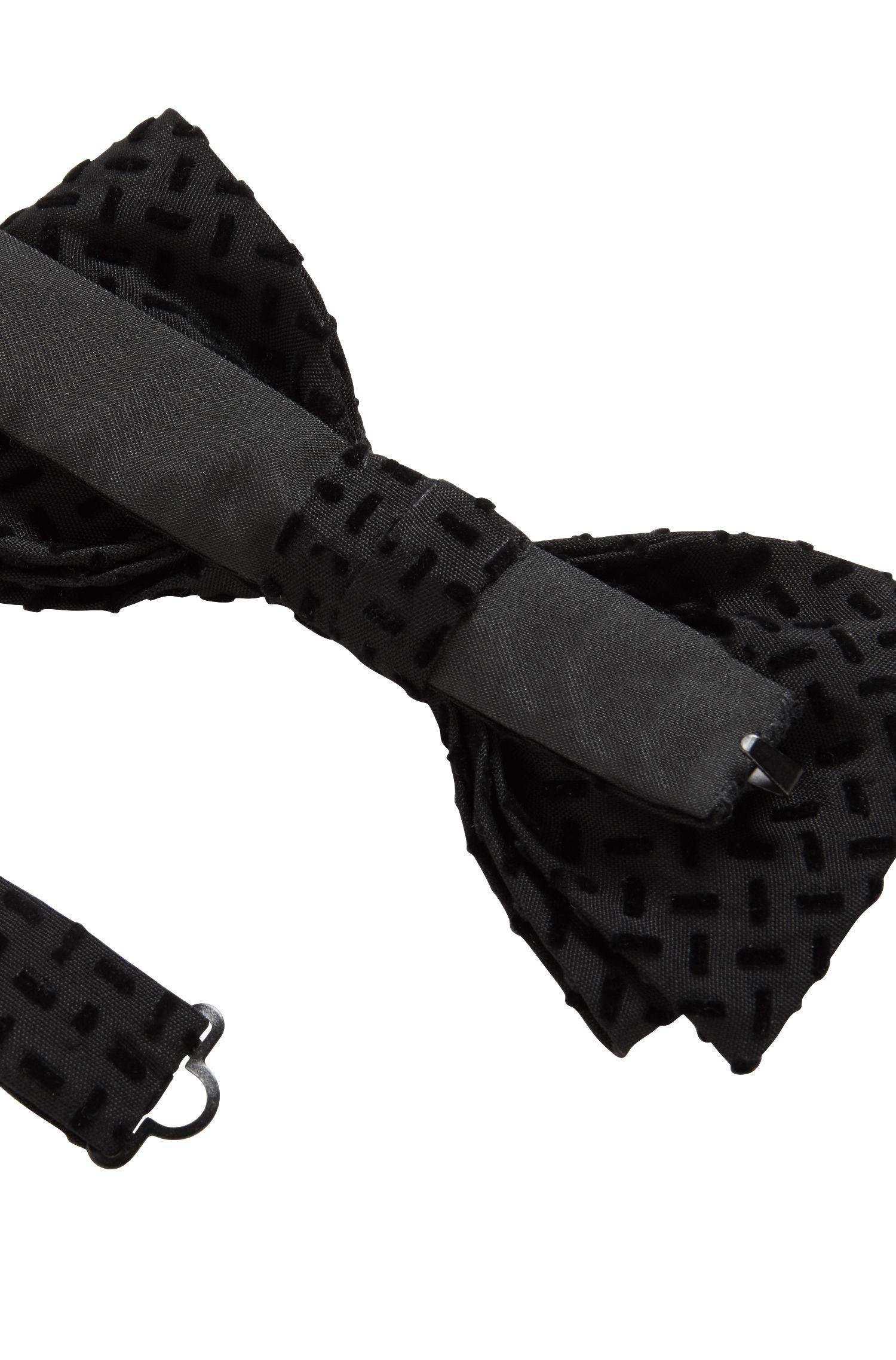 Nœud papillon en coton avec finitions en soie, confectionné en Italie, Noir