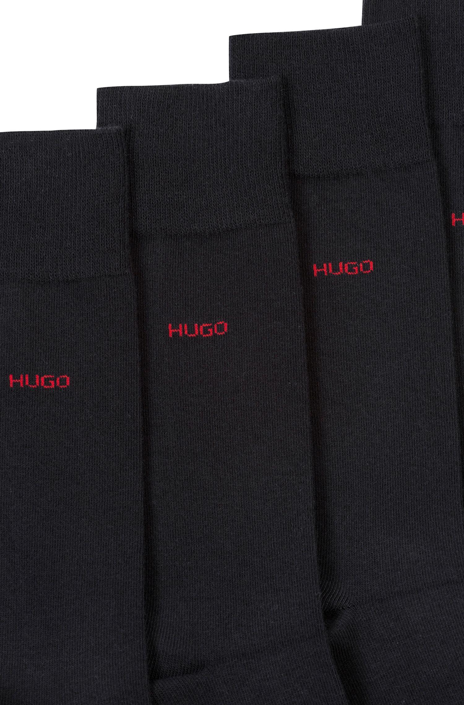 Set van twee paar sokken van een katoenmix in standaardlengte, Zwart