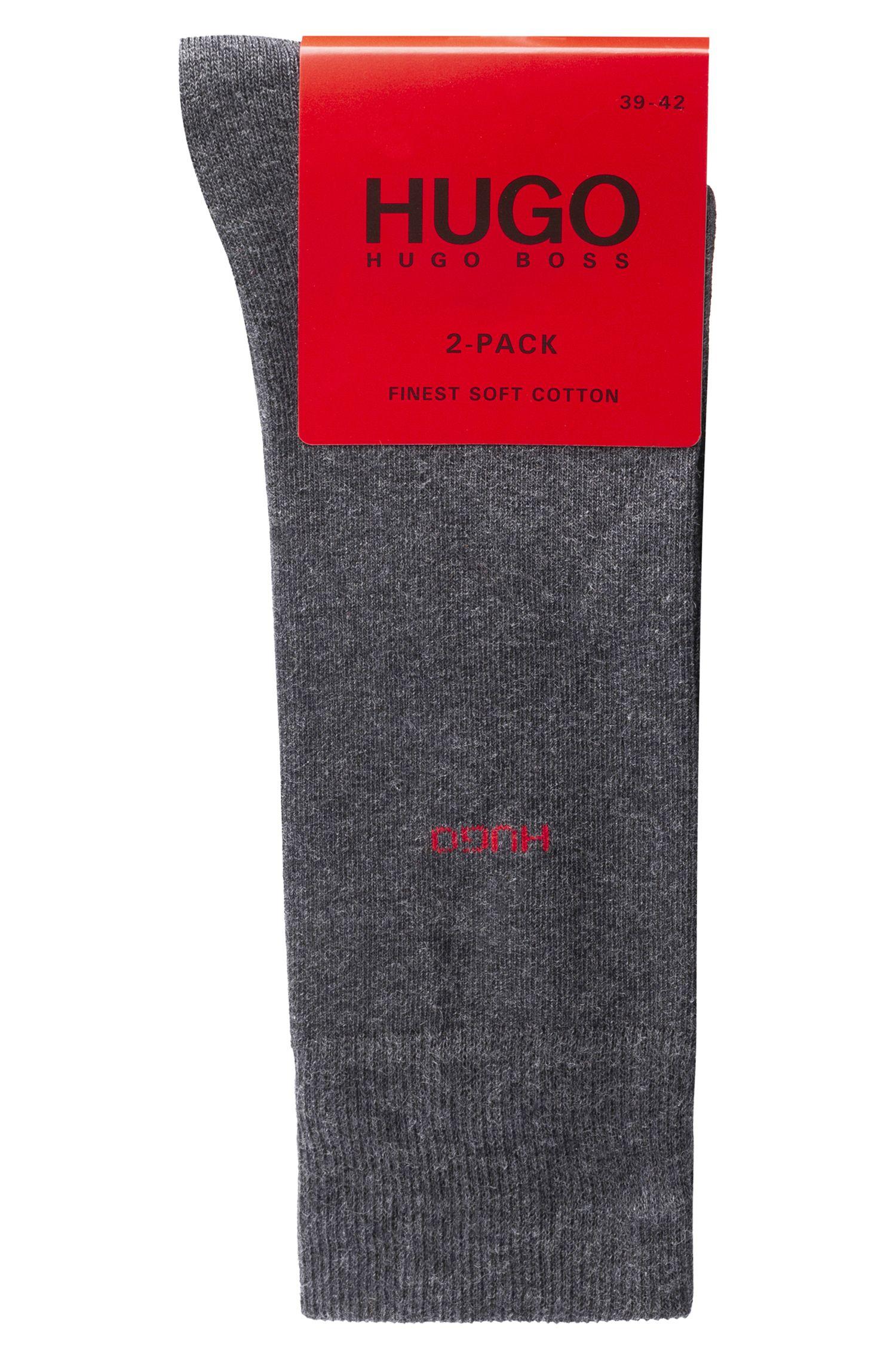 Paquete de dos pares de calcetines de largo normal en mezcla de algodón, Gris marengo
