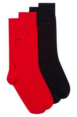 Paquete de dos pares de calcetines de largo normal en mezcla de algodón, Negro