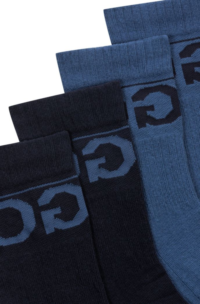 Two-pack of knitted ankle socks with reverse logo
