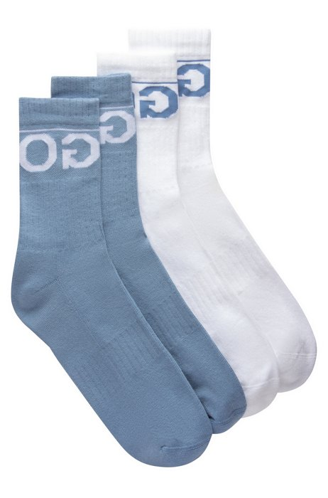 Gestrickte Sneakers-Socken mit Reversed-Logo im Zweier-Pack, Hellblau