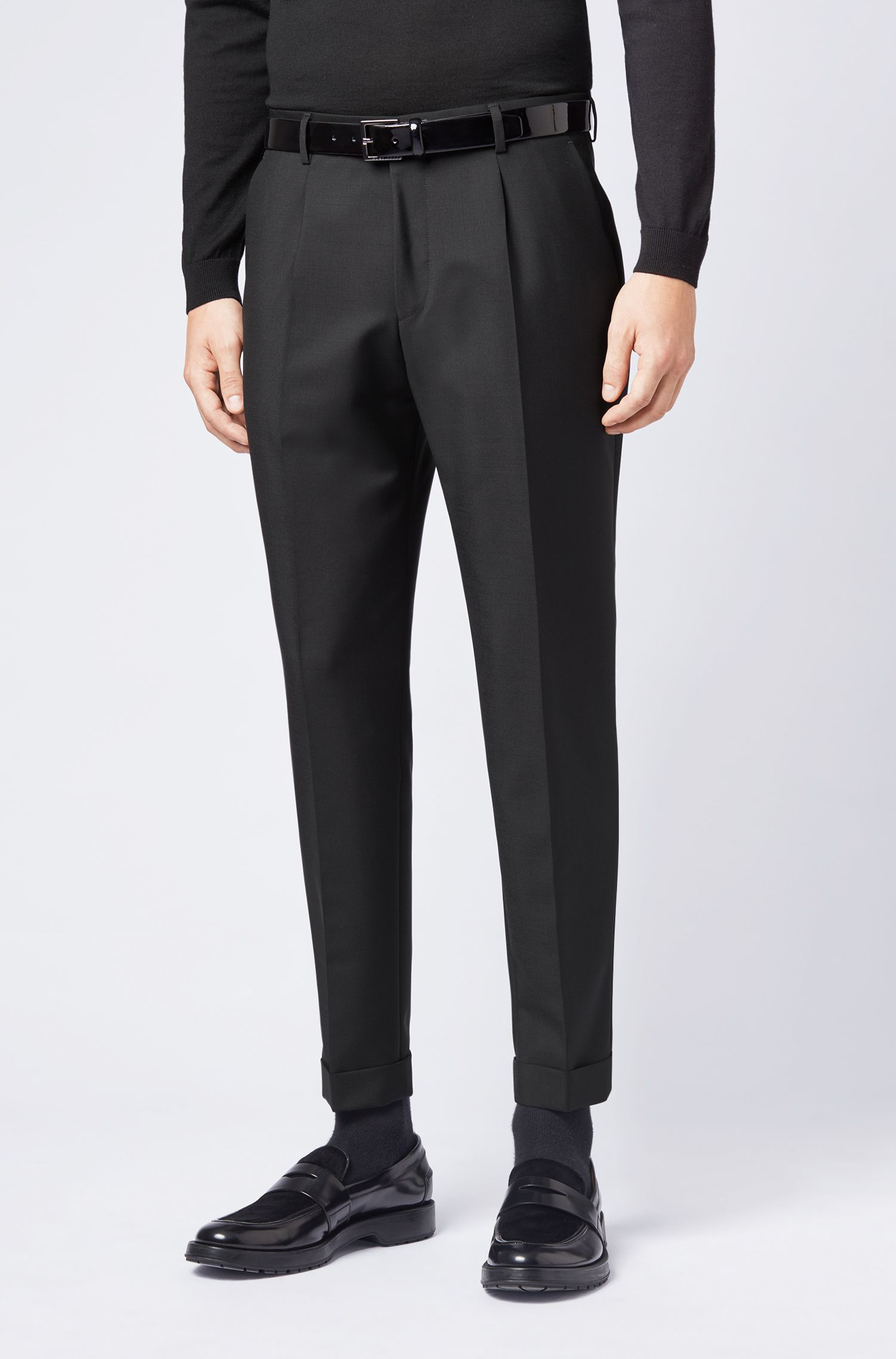 Relaxed-fit cropped trousers in an Italian wool blend, Black