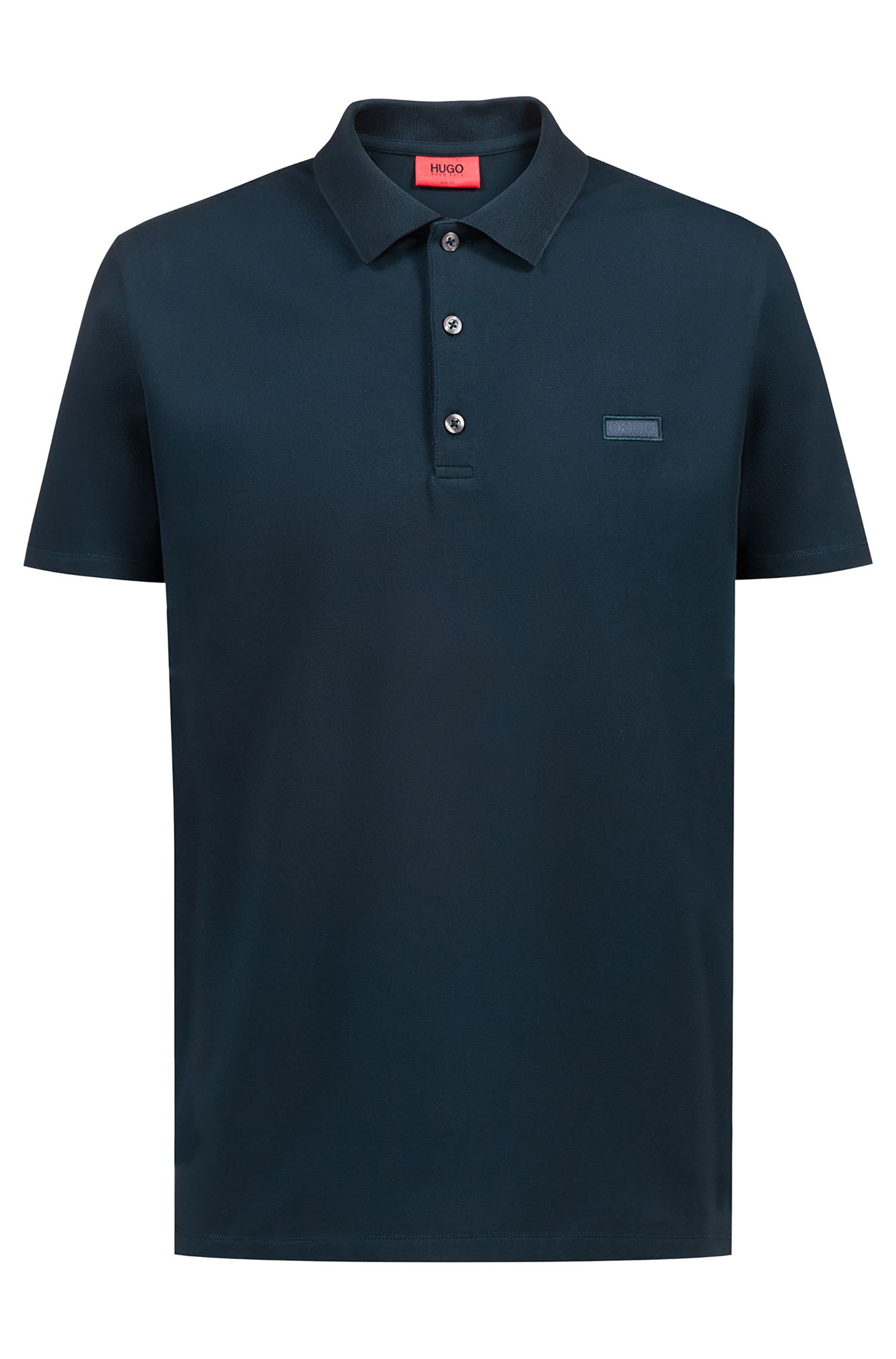 Slim-fit polo shirt with reverse-logo badge, Dark Green