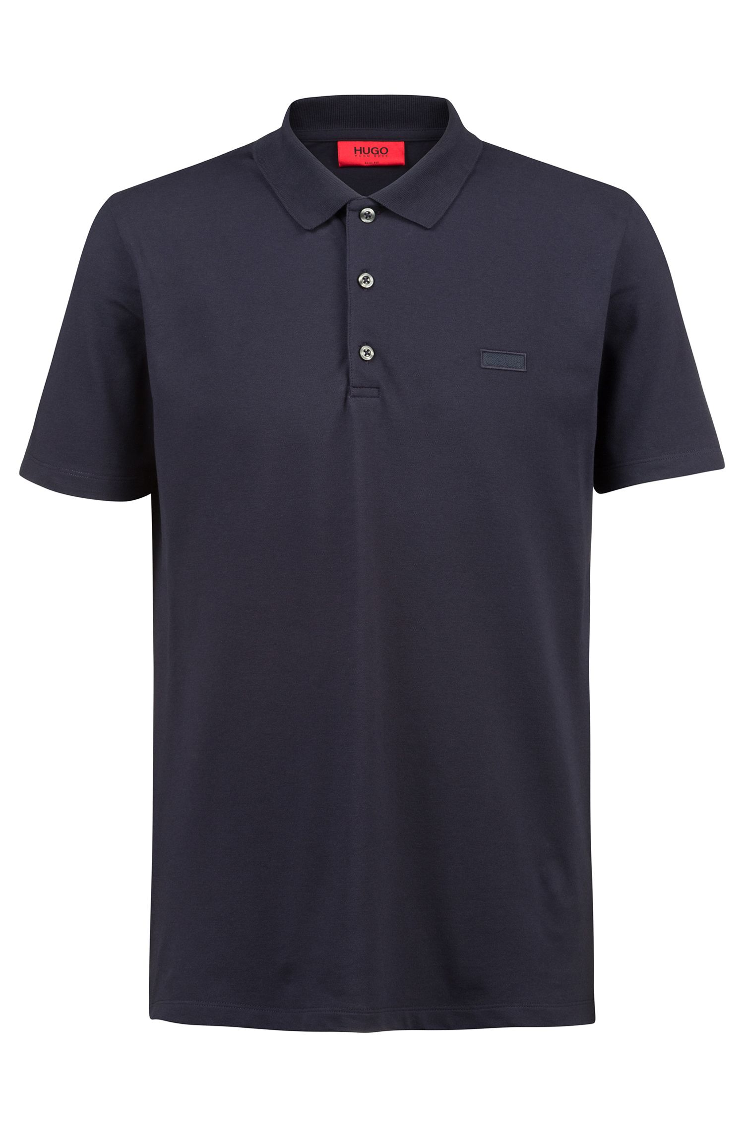 Slim-fit polo shirt with reverse-logo badge, Dark Blue