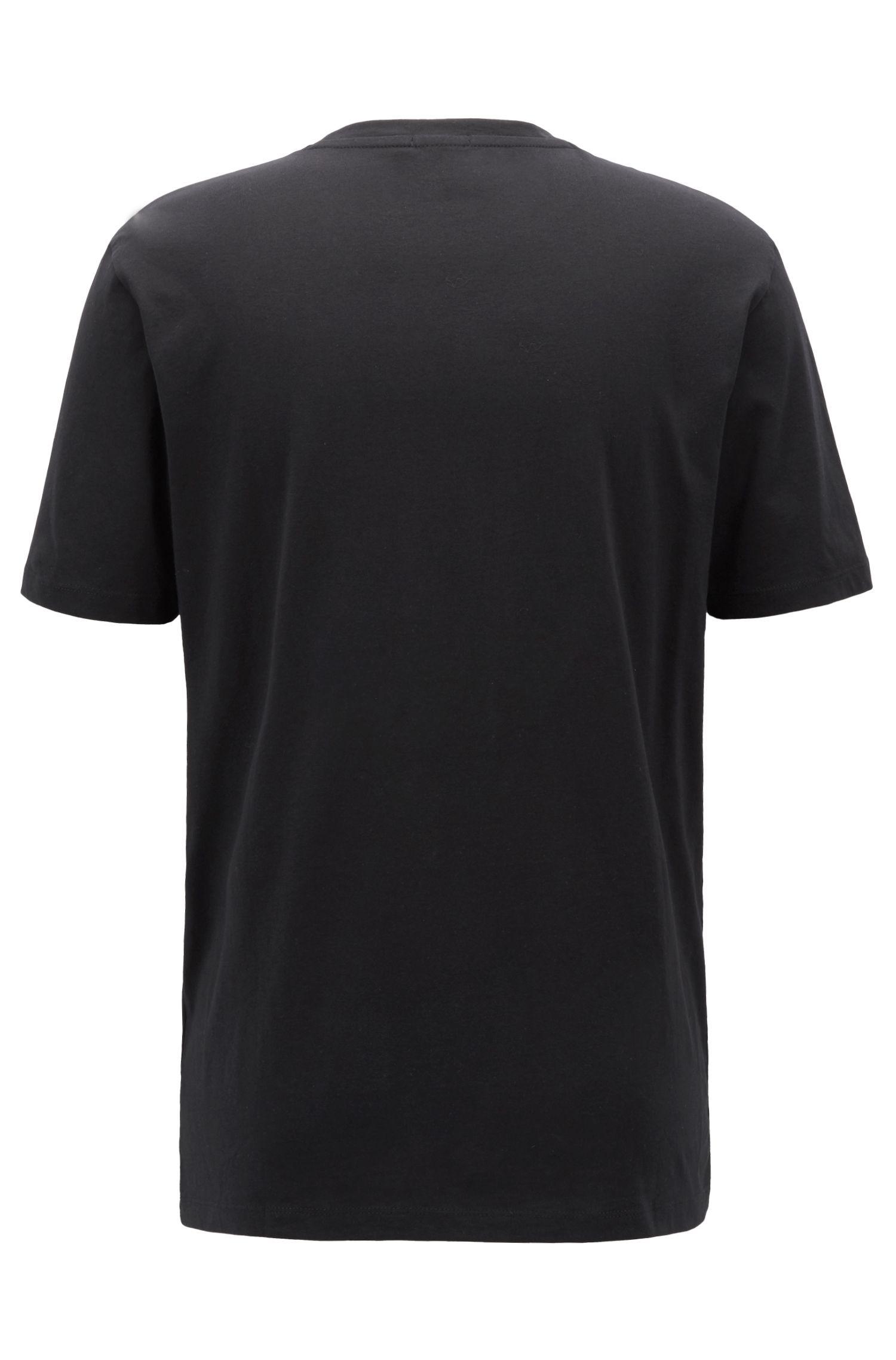 Cotton T-shirt with monogram logo, Black