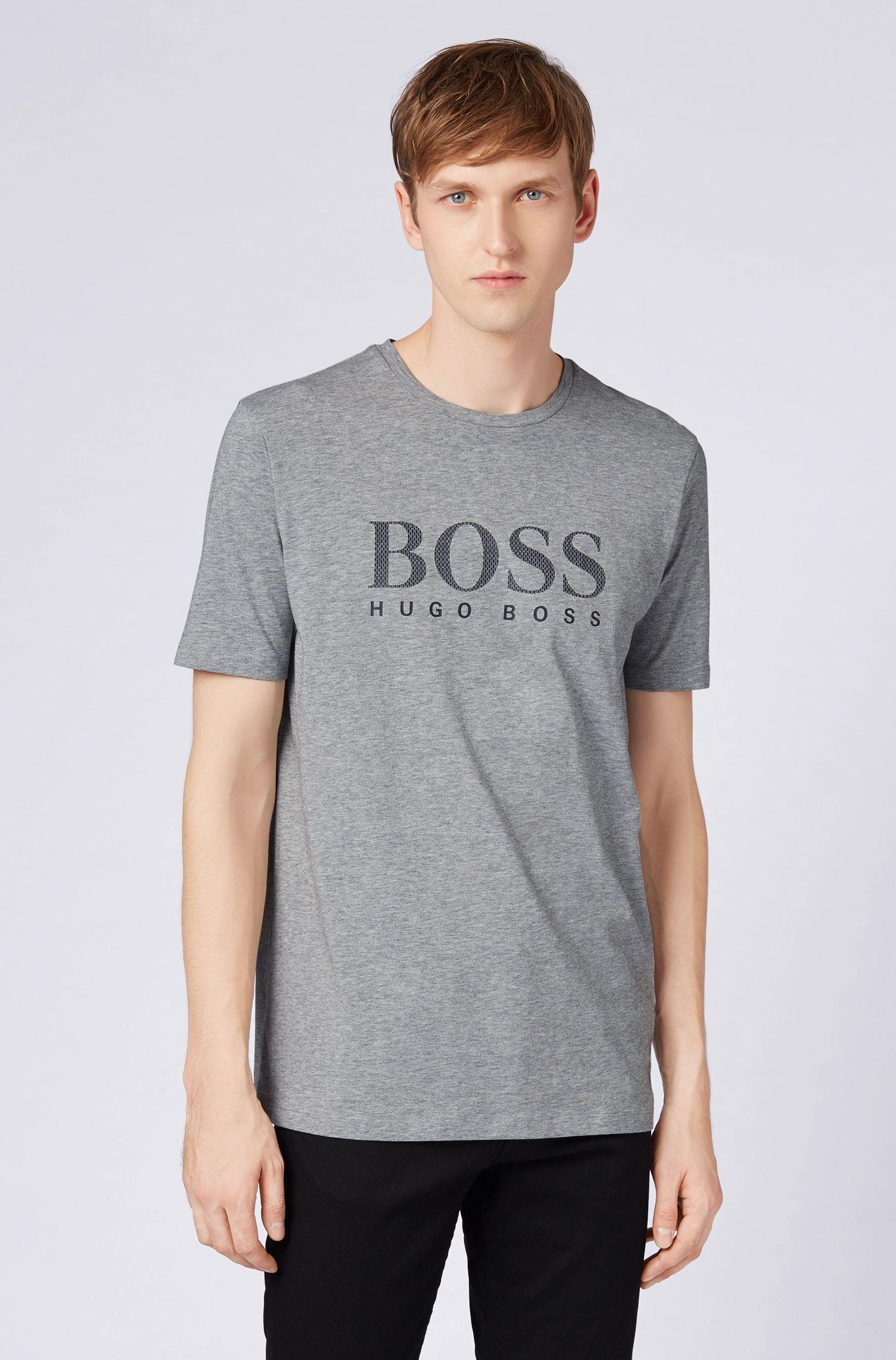 Katoenen T-shirt met monogramlogo, Zilver
