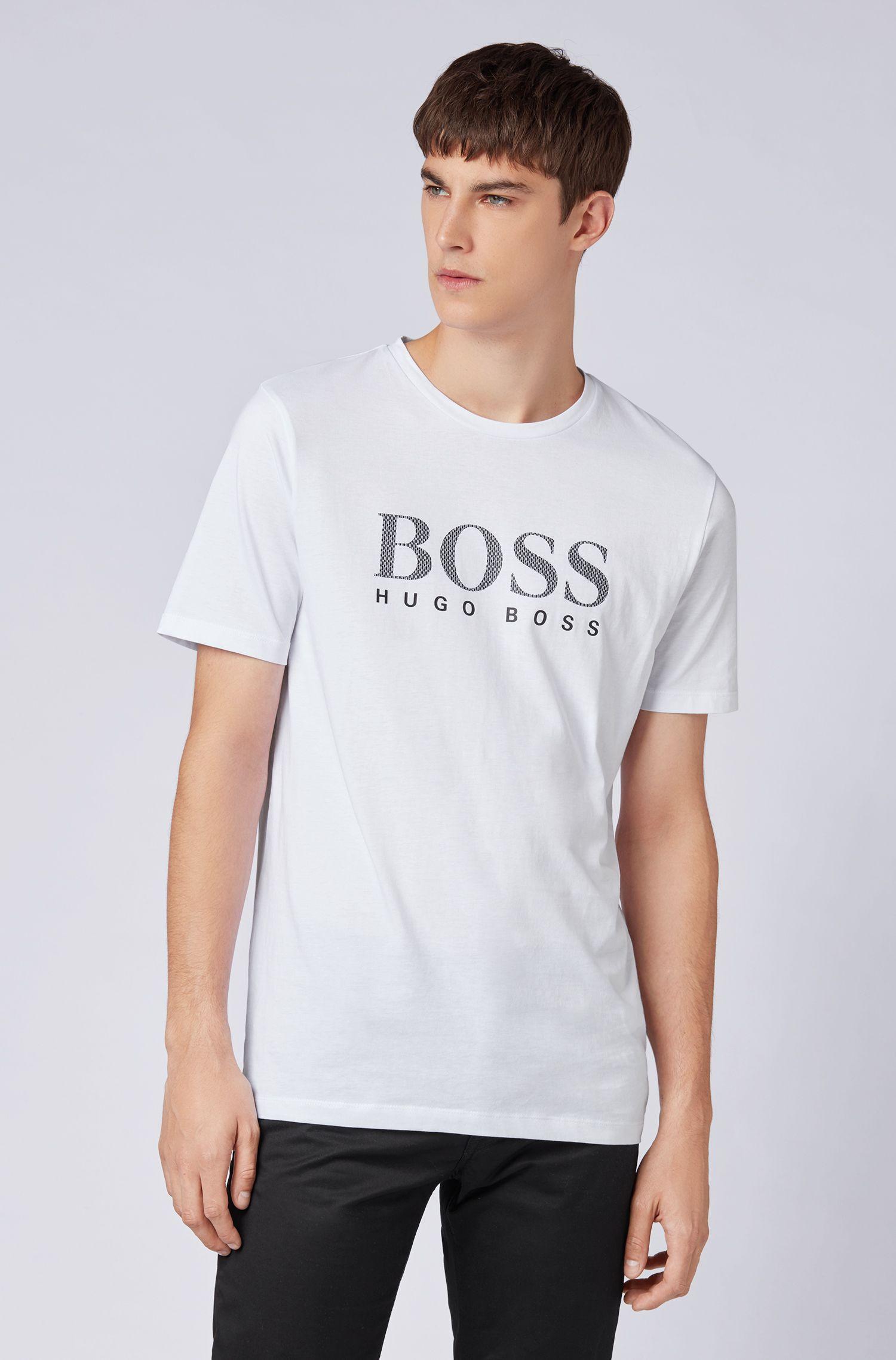 T-shirt en coton avec logo monogramme, Blanc