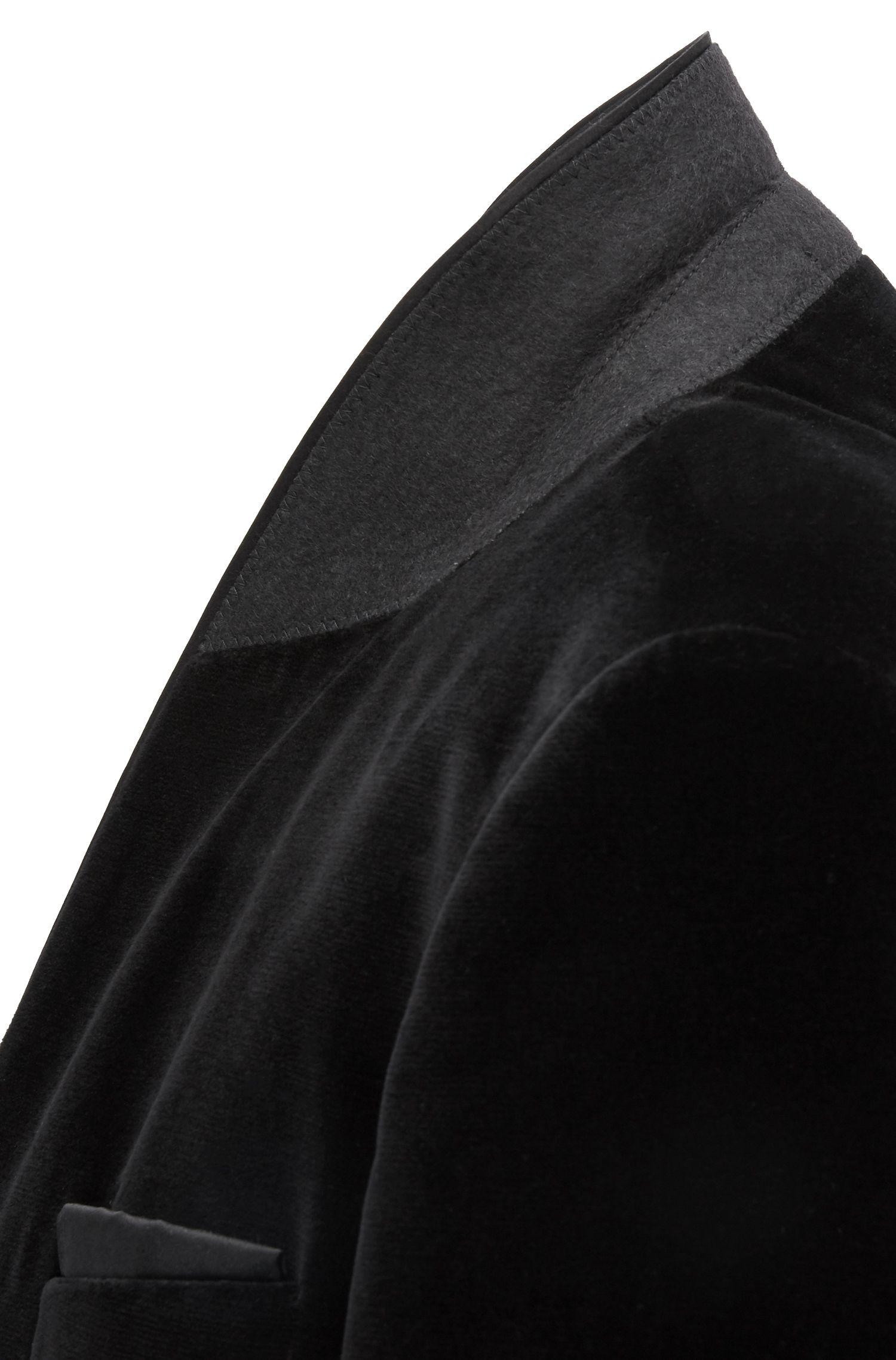 Smoking Slim Fit en velours, avec finitions en soie, Noir